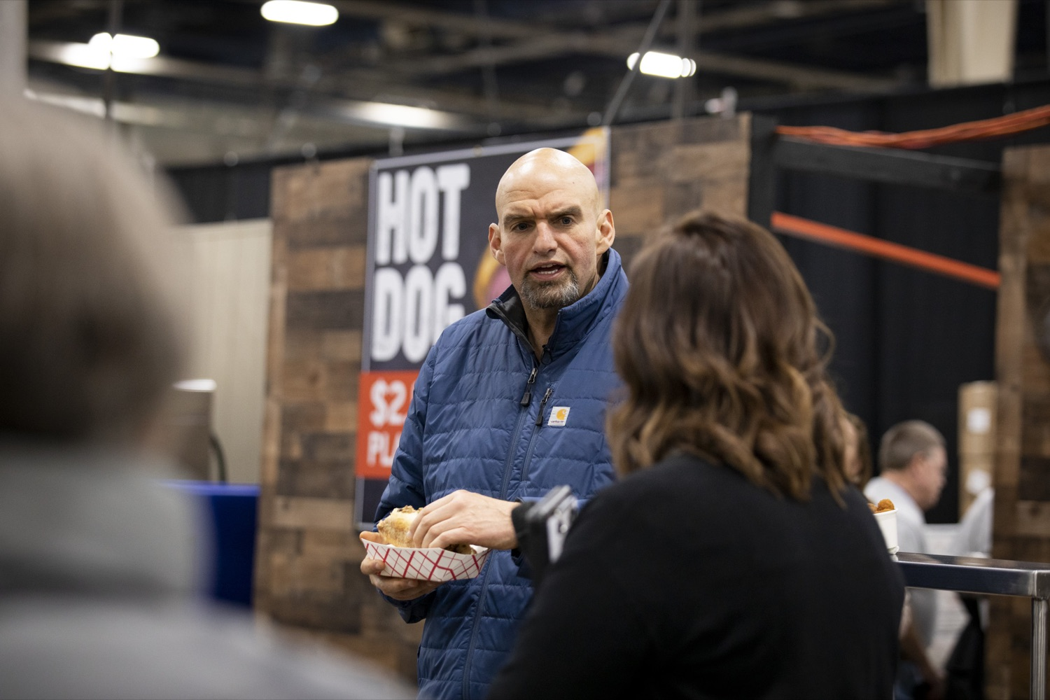 "<a href=""https://filesource.wostreaming.net/commonwealthofpa/photo/17658_FARM_SHOW_FIRST_TASTE_CZ_12.JPG"" target=""_blank"">⇣ Download Photo<br></a>Lt. Governor John Fetterman samples a Philly port sandwich from the Mushroom Farmers of Pennsylvania at the Pennsylvania Farm Show Food Court in Harrisburg on January 2, 2020."