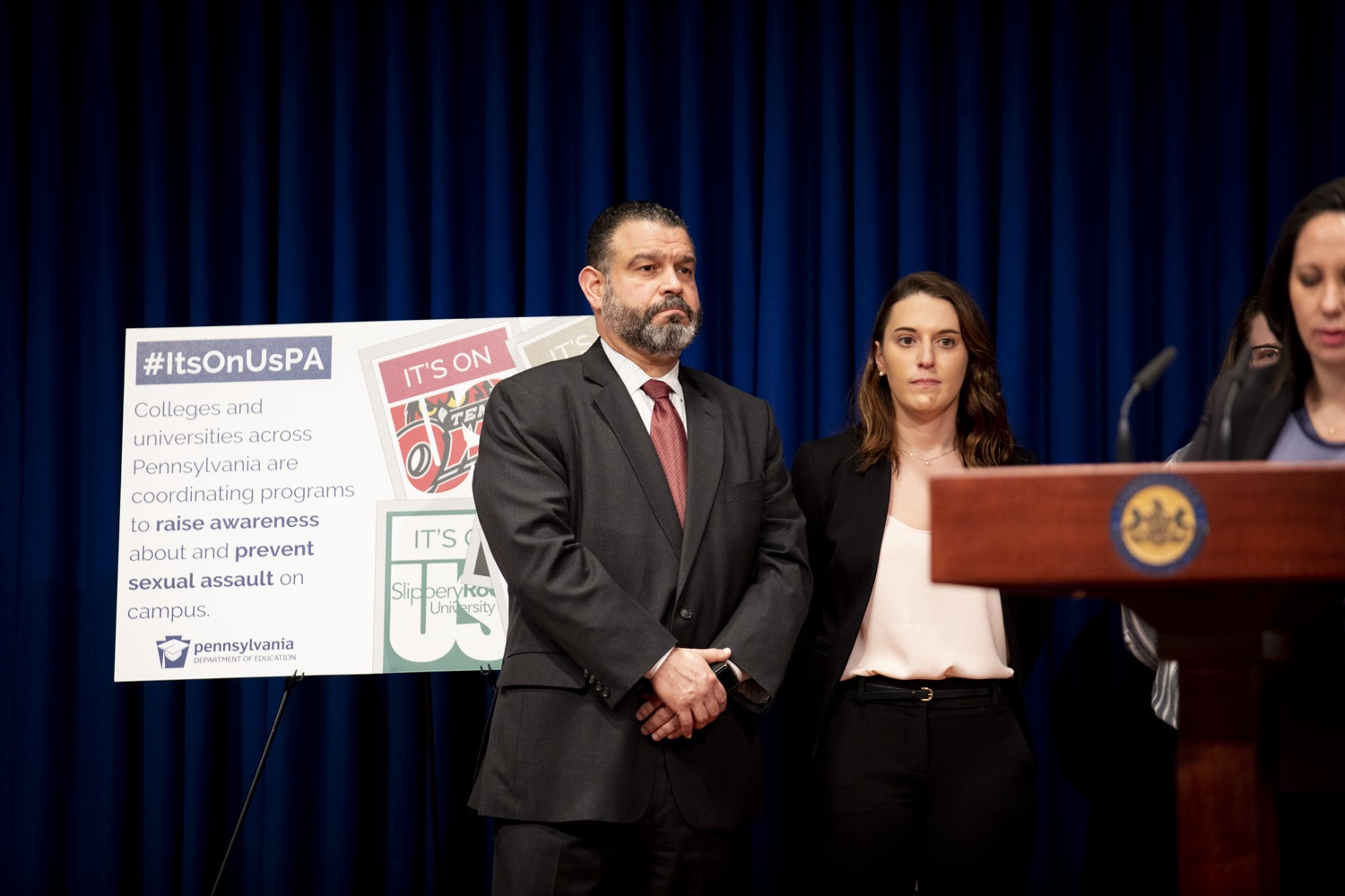 "<a href=""https://filesource.wostreaming.net/commonwealthofpa/photo/17692_pde_ItsOnUs_CZ_08.JPG"" target=""_blank"">⇣ Download Photo<br></a>Secretary Pedro Rivera announces nearly $1 Million in grants from the Wolf Administration to combat campus sexual assault at 36 colleges and universities across Pennsylvania, at the Harrisburg Capitol on January 16, 2020."