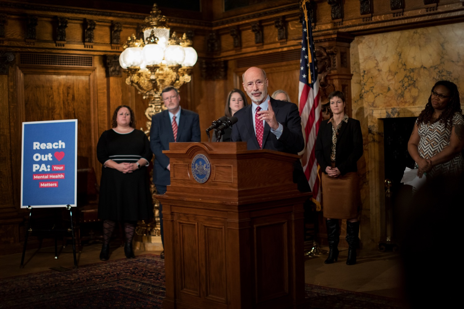 "<a href=""https://filesource.wostreaming.net/commonwealthofpa/photo/17694_GOV_Mental_Health_NK_009.JPG"" target=""_blank"">⇣ Download Photo<br></a>Pennsylvania Governor Tom Wolf speaks during a press conference inside the Governor's Reception Room at the State Capitol building in Harrisburg on Thursday, January 2, 2020. Governor Wolf announced a focused all-agency effort and anti-stigma campaign, Reach Out PA: Your Mental Health Matters, aimed at expanding resources and the states comprehensive support of mental health and related health care priorities in Pennsylvania."