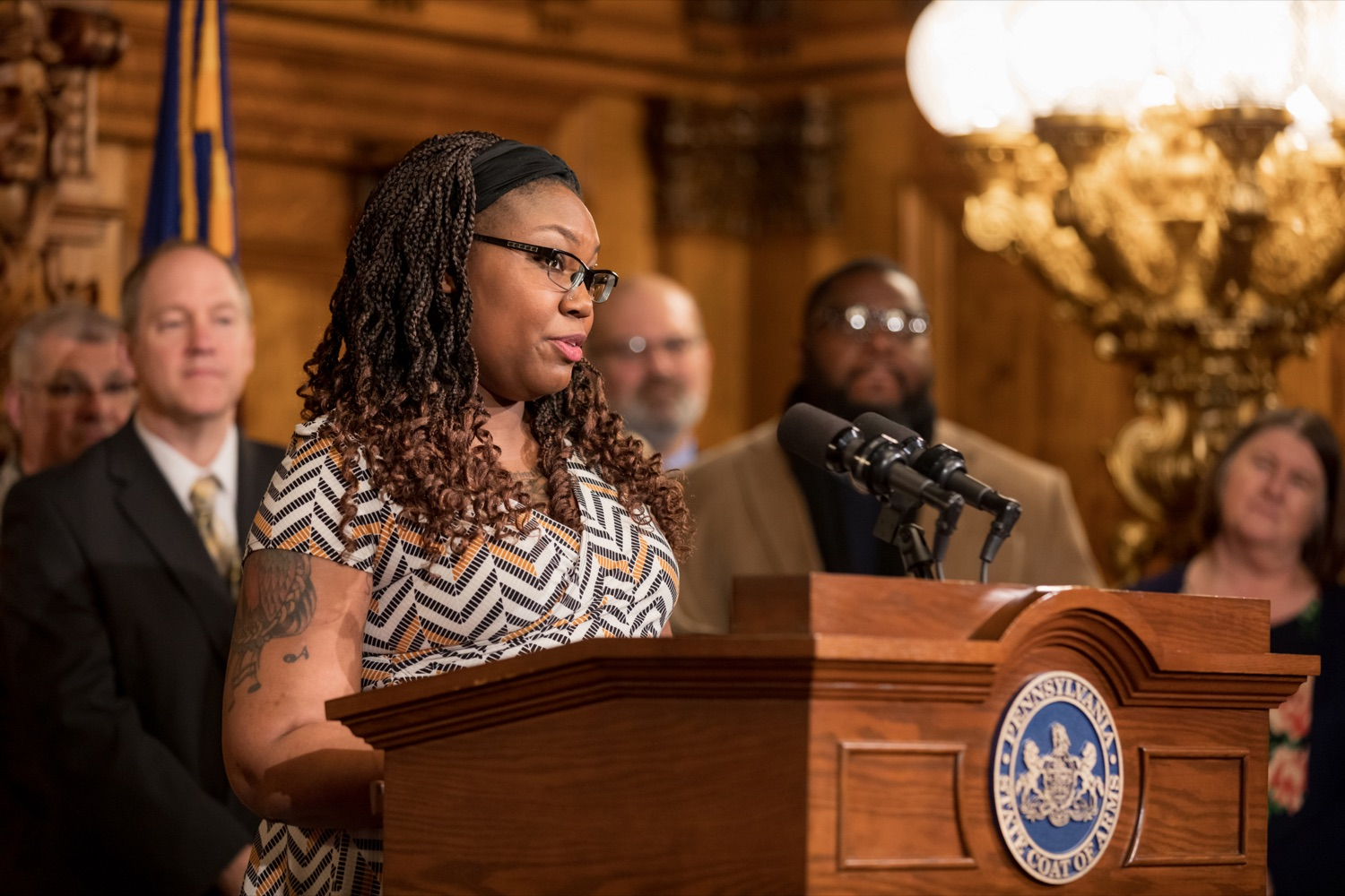 "<a href=""https://filesource.wostreaming.net/commonwealthofpa/photo/17694_GOV_Mental_Health_NK_010.JPG"" target=""_blank"">⇣ Download Photo<br></a>Tanisha Bowman speaks during a press conference inside the Governor's Reception Room at the State Capitol building in Harrisburg on Thursday, January 2, 2020. Governor Wolf announced a focused all-agency effort and anti-stigma campaign, Reach Out PA: Your Mental Health Matters, aimed at expanding resources and the states comprehensive support of mental health and related health care priorities in Pennsylvania."