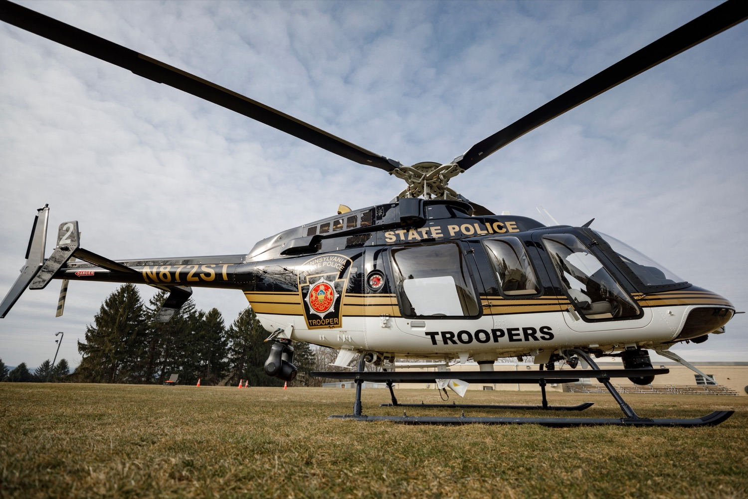 "<a href=""https://filesource.wostreaming.net/commonwealthofpa/photo/17706_DOH_Drone_Safety_NK_002.JPG"" target=""_blank"">⇣ Download Photo<br></a>A Pennsylvania State Police helicopter is pictured before a press conference, which highlighted the danger drones pose to helicopters in emergency situations, at the Pennsylvania State Police Academy in Hershey on Friday, January 31, 2020."