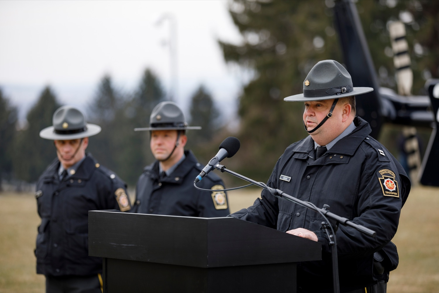 "<a href=""https://filesource.wostreaming.net/commonwealthofpa/photo/17706_DOH_Drone_Safety_NK_004.JPG"" target=""_blank"">⇣ Download Photo<br></a>Pennsylvania State Police Capt. Gary Vogue, director of the Special Service Division of the Pennsylvania State Police Bureau of Emergency and Special Operations, speaks during a press conference, which highlighted the danger drones pose to helicopters in emergency situations, at the Pennsylvania State Police Academy in Hershey on Friday, January 31, 2020."