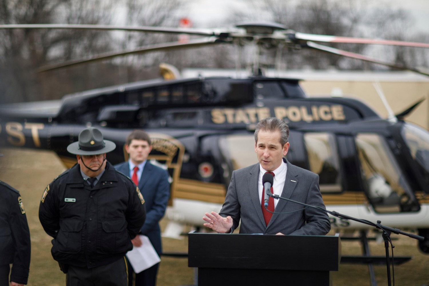 "<a href=""https://filesource.wostreaming.net/commonwealthofpa/photo/17706_DOH_Drone_Safety_NK_005.JPG"" target=""_blank"">⇣ Download Photo<br></a>Anthony McCloskey, director at PennDOT Bureau of Aviation, speaks during a press conference, which highlighted the danger drones pose to helicopters in emergency situations, at the Pennsylvania State Police Academy in Hershey on Friday, January 31, 2020."