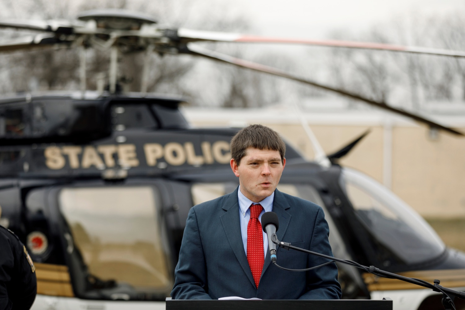 "<a href=""https://filesource.wostreaming.net/commonwealthofpa/photo/17706_DOH_Drone_Safety_NK_009.JPG"" target=""_blank"">⇣ Download Photo<br></a>Dylan Ferguson, the director of the Bureau of Emergency Medical Services with the Pennsylvania Department of Health, speaks during a press conference, which highlighted the danger drones pose to helicopters in emergency situations, at the Pennsylvania State Police Academy in Hershey on Friday, January 31, 2020."