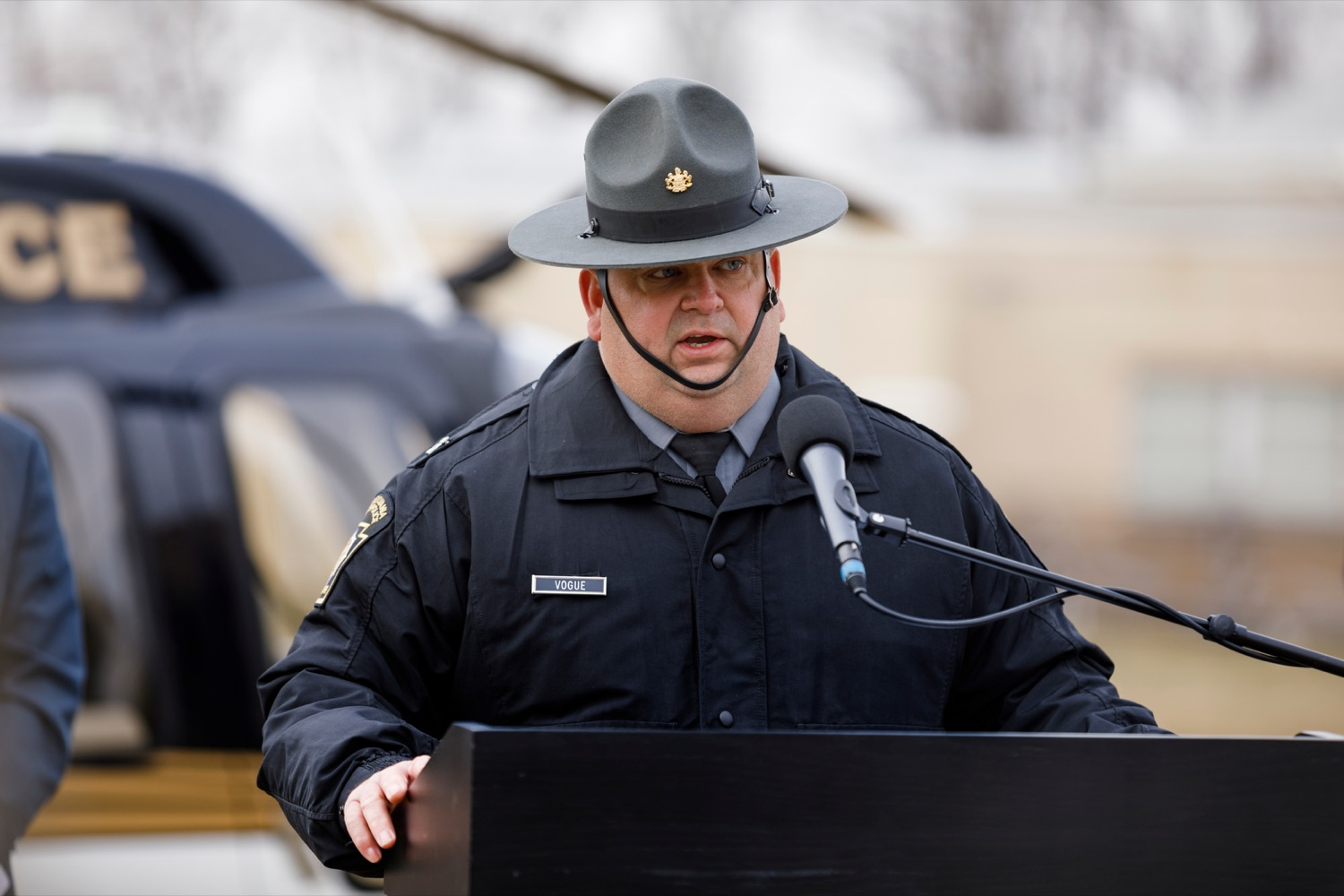 "<a href=""https://filesource.wostreaming.net/commonwealthofpa/photo/17706_DOH_Drone_Safety_NK_013.JPG"" target=""_blank"">⇣ Download Photo<br></a>Pennsylvania State Police Capt. Gary Vogue, director of the Special Service Division of the Pennsylvania State Police Bureau of Emergency and Special Operations, speaks during a press conference, which highlighted the danger drones pose to helicopters in emergency situations, at the Pennsylvania State Police Academy in Hershey on Friday, January 31, 2020."