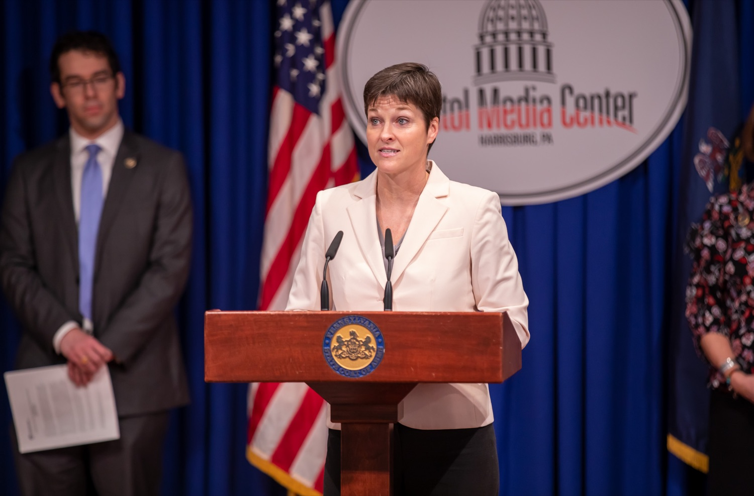 """<a href=""""https://filesource.wostreaming.net/commonwealthofpa/photo/17711_DHS_SuicidePrevention_AG_02.jpg"""" target=""""_blank"""">⇣Download Photo<br></a>Harrisburg, PA.  Secretary of the Department of Human Services, Teresa Miller discusses the initial report of Pennsylvanias Suicide Prevention Task Force based on the statewide listening sessions held throughout fall 2019. The work of the Suicide Prevention Task Force is a complement to the goals and strategies surrounding the governors Reach Out PA: Your Mental Health Matters initiative announced earlier this month and his Executive Order to protect vulnerable populations signed last year.  January 14, 2020."""