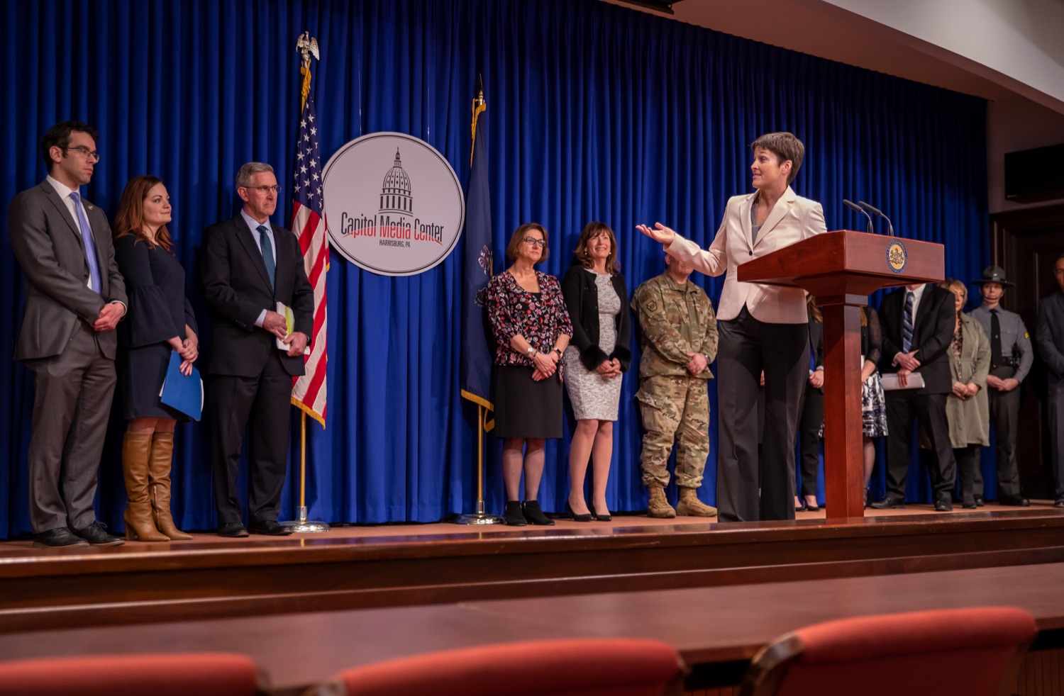 """<a href=""""https://filesource.wostreaming.net/commonwealthofpa/photo/17711_DHS_SuicidePrevention_AG_05.jpg"""" target=""""_blank"""">⇣Download Photo<br></a>Harrisburg, PA.  Secretary of the Department of Human Services, Teresa Miller discusses the initial report of Pennsylvanias Suicide Prevention Task Force based on the statewide listening sessions held throughout fall 2019. The work of the Suicide Prevention Task Force is a complement to the goals and strategies surrounding the governors Reach Out PA: Your Mental Health Matters initiative announced earlier this month and his Executive Order to protect vulnerable populations signed last year.  January 14, 2020."""