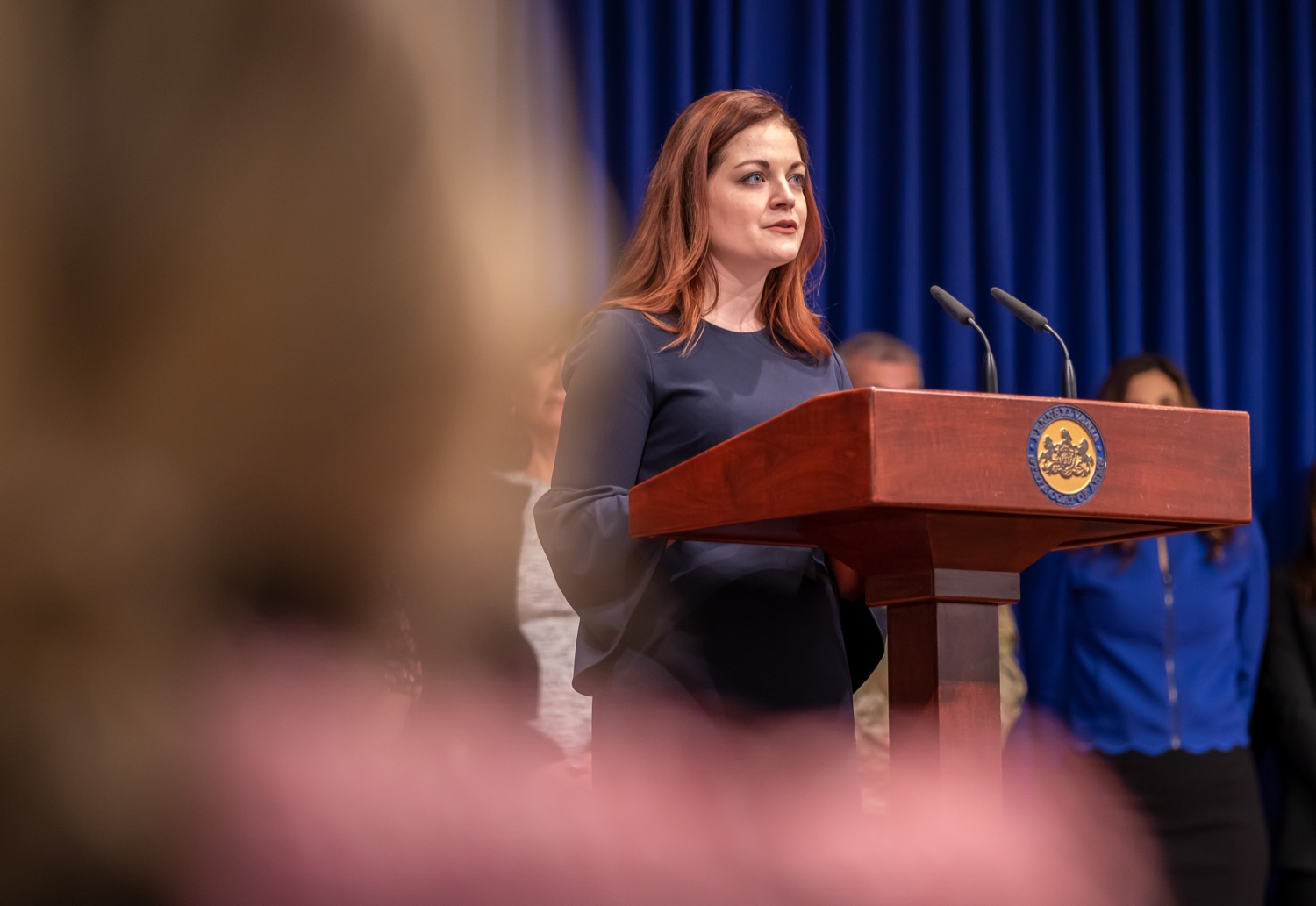 """<a href=""""https://filesource.wostreaming.net/commonwealthofpa/photo/17711_DHS_SuicidePrevention_AG_13.jpg"""" target=""""_blank"""">⇣Download Photo<br></a>Harrisburg, PA.  Caitlin Palmer of the Department of Human Services, speaks at todays event discussing the initial report of Pennsylvanias Suicide Prevention Task Force based on the statewide listening sessions held throughout fall 2019. The work of the Suicide Prevention Task Force is a complement to the goals and strategies surrounding the governors Reach Out PA: Your Mental Health Matters initiative announced earlier this month and his Executive Order to protect vulnerable populations signed last year.  January 14, 2020."""