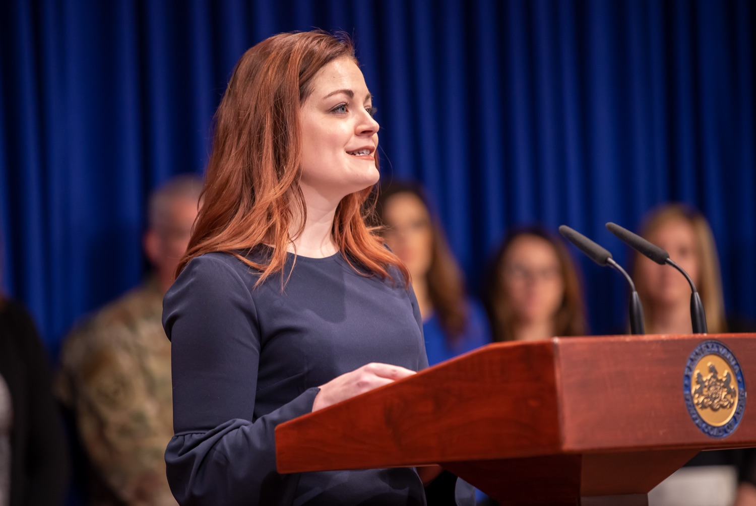 """<a href=""""https://filesource.wostreaming.net/commonwealthofpa/photo/17711_DHS_SuicidePrevention_AG_14.jpg"""" target=""""_blank"""">⇣Download Photo<br></a>Harrisburg, PA.  Caitlin Palmer of the Department of Human Services, speaks at todays event discussing the initial report of Pennsylvanias Suicide Prevention Task Force based on the statewide listening sessions held throughout fall 2019. The work of the Suicide Prevention Task Force is a complement to the goals and strategies surrounding the governors Reach Out PA: Your Mental Health Matters initiative announced earlier this month and his Executive Order to protect vulnerable populations signed last year.  January 14, 2020."""