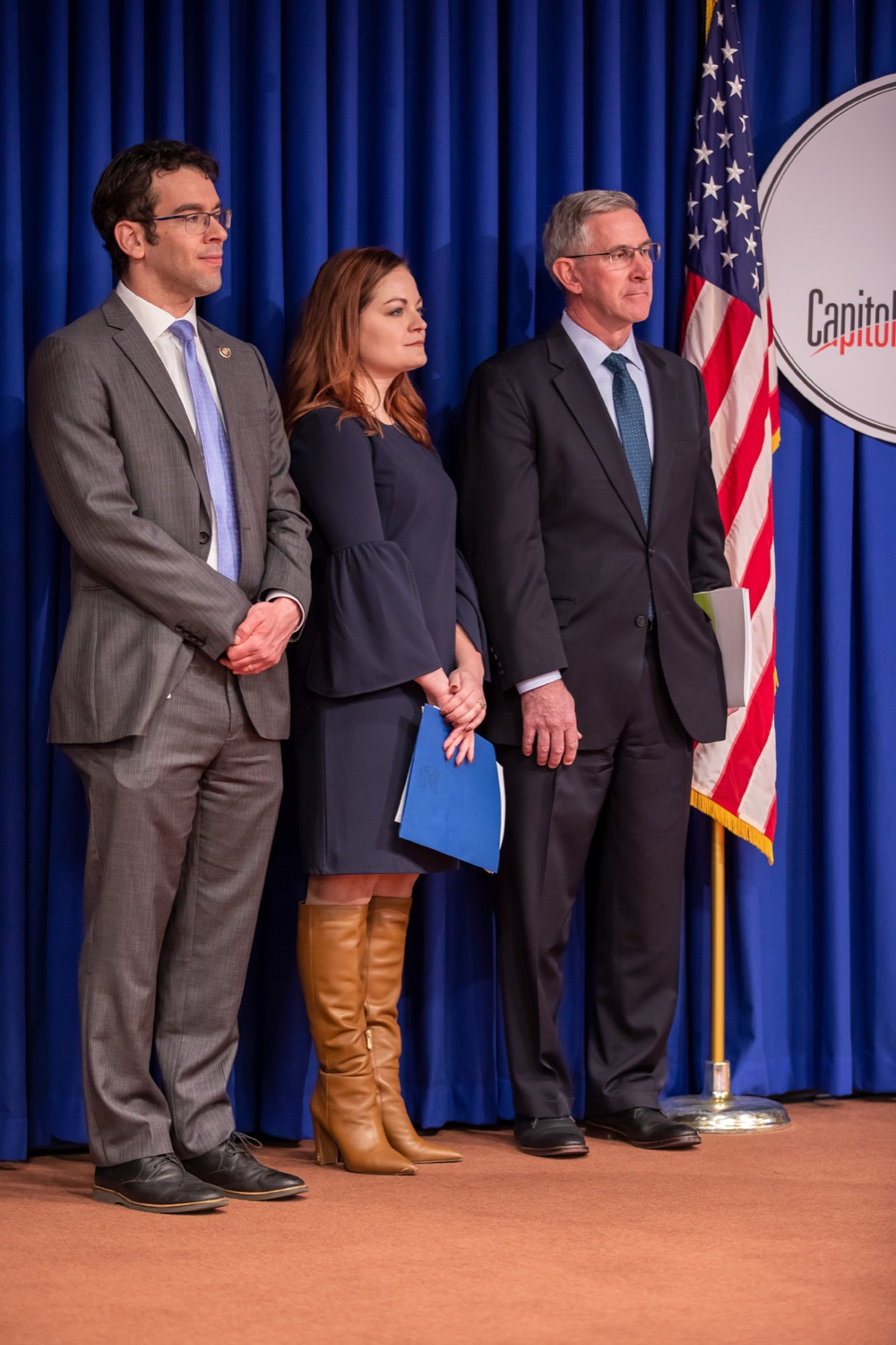 """<a href=""""https://filesource.wostreaming.net/commonwealthofpa/photo/17711_DHS_SuicidePrevention_AG_15.jpg"""" target=""""_blank"""">⇣Download Photo<br></a>Harrisburg, PA.  (left to right) PA Rep. Michael Schlossberg, Caitlin Palmer and Secretary of Agriculture Russell Redding were in attendance at todays event discussing the initial report of Pennsylvanias Suicide Prevention Task Force based on the statewide listening sessions held throughout fall 2019. The work of the Suicide Prevention Task Force is a complement to the goals and strategies surrounding the governors Reach Out PA: Your Mental Health Matters initiative announced earlier this month and his Executive Order to protect vulnerable populations signed last year.  January 14, 2020."""