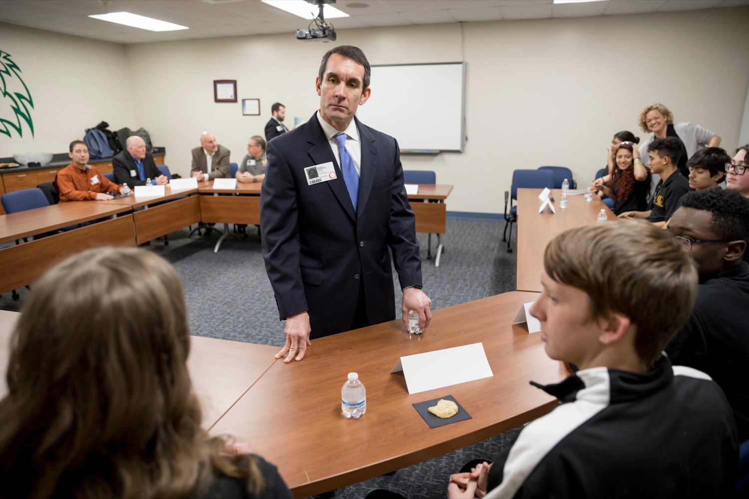 """<a href=""""https://filesource.wostreaming.net/commonwealthofpa/photo/17719_AUD_GEN_Tech_School_NK_003.JPG"""" target=""""_blank"""">⇣Download Photo<br></a>Auditor General Eugene DePasquale talks with Dauphin County Technical School students before a roundtable discussion inside the school on Wednesday, January 15, 2020."""