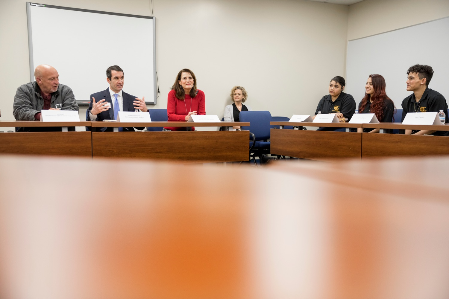 """<a href=""""https://filesource.wostreaming.net/commonwealthofpa/photo/17719_AUD_GEN_Tech_School_NK_007.JPG"""" target=""""_blank"""">⇣Download Photo<br></a>Auditor General Eugene DePasquale, second from left, speaks inside Dauphin County Technical School during a roundtable discussion inside the school on Wednesday, January 15, 2020."""