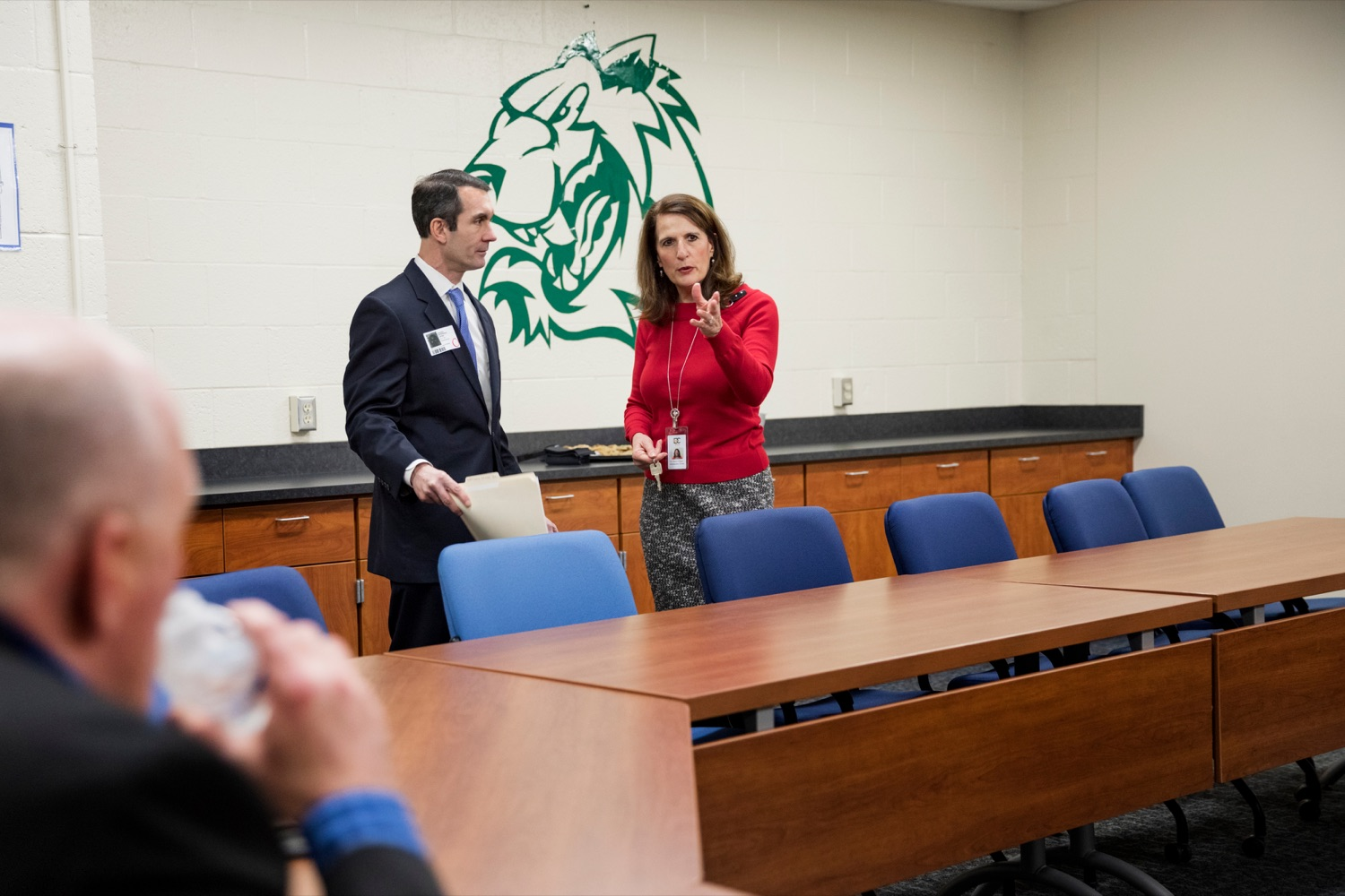 """<a href=""""https://filesource.wostreaming.net/commonwealthofpa/photo/17719_AUD_GEN_Tech_School_NK_009.JPG"""" target=""""_blank"""">⇣Download Photo<br></a>Auditor General Eugene DePasquale talks with Dr. Karen Pflugh, administrative director of Dauphin County Technical School, during a tour of the school on Wednesday, January 15, 2020."""