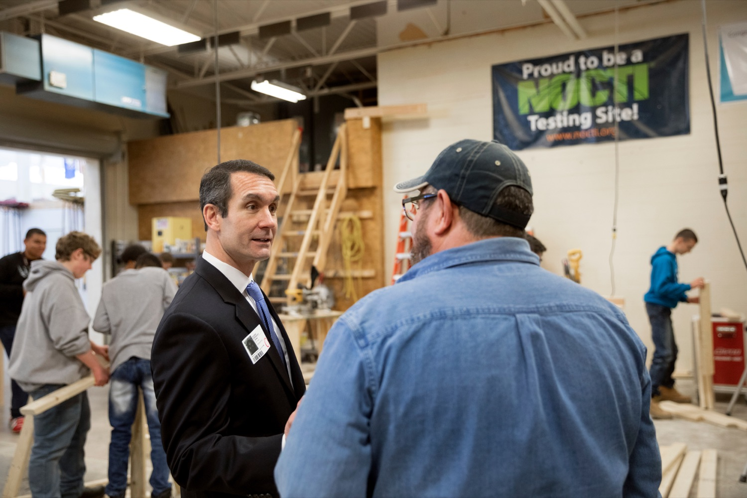 """<a href=""""https://filesource.wostreaming.net/commonwealthofpa/photo/17719_AUD_GEN_Tech_School_NK_010.JPG"""" target=""""_blank"""">⇣Download Photo<br></a>Auditor General Eugene DePasquale talks with Bob Brightbill, building construction instructor at Dauphin County Technical School, during a tour of the school on Wednesday, January 15, 2020."""