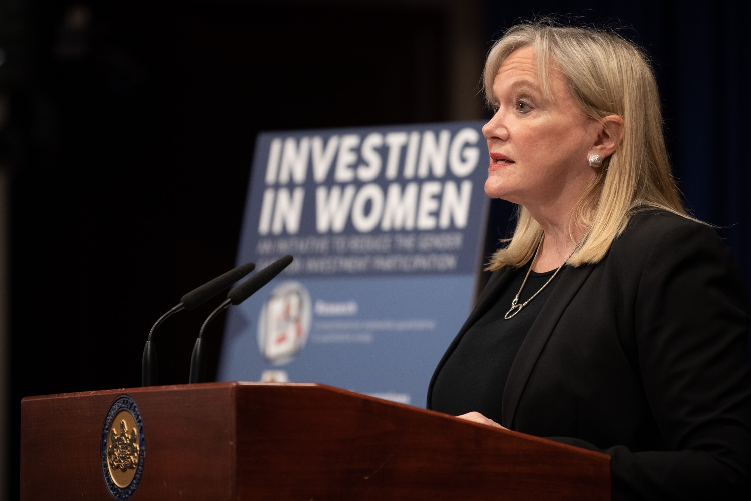 "<a href=""https://filesource.wostreaming.net/commonwealthofpa/photo/17725_dobs_investingwomen_dz_001.jpg"" target=""_blank"">⇣ Download Photo<br></a>Department of Banking and Securities Secretary Robin L. Wiessmann speaking at the announcement in the Capitol Media Center. Pennsylvania Department of Banking and Securities Secretary Robin L. Wiessmann today announced Investing in Women, an initiative aimed at providing women with important information about banking, credit, saving and investing, while offering practical resources to navigate their finances. The secretary was joined at a Capitol news conference by .Julie Bancroft, Chief Public Affairs Officer of the Pennsylvania Coalition Against Domestic Violence (PCADV).  .Harrisburg, PA - January 15, 2020."