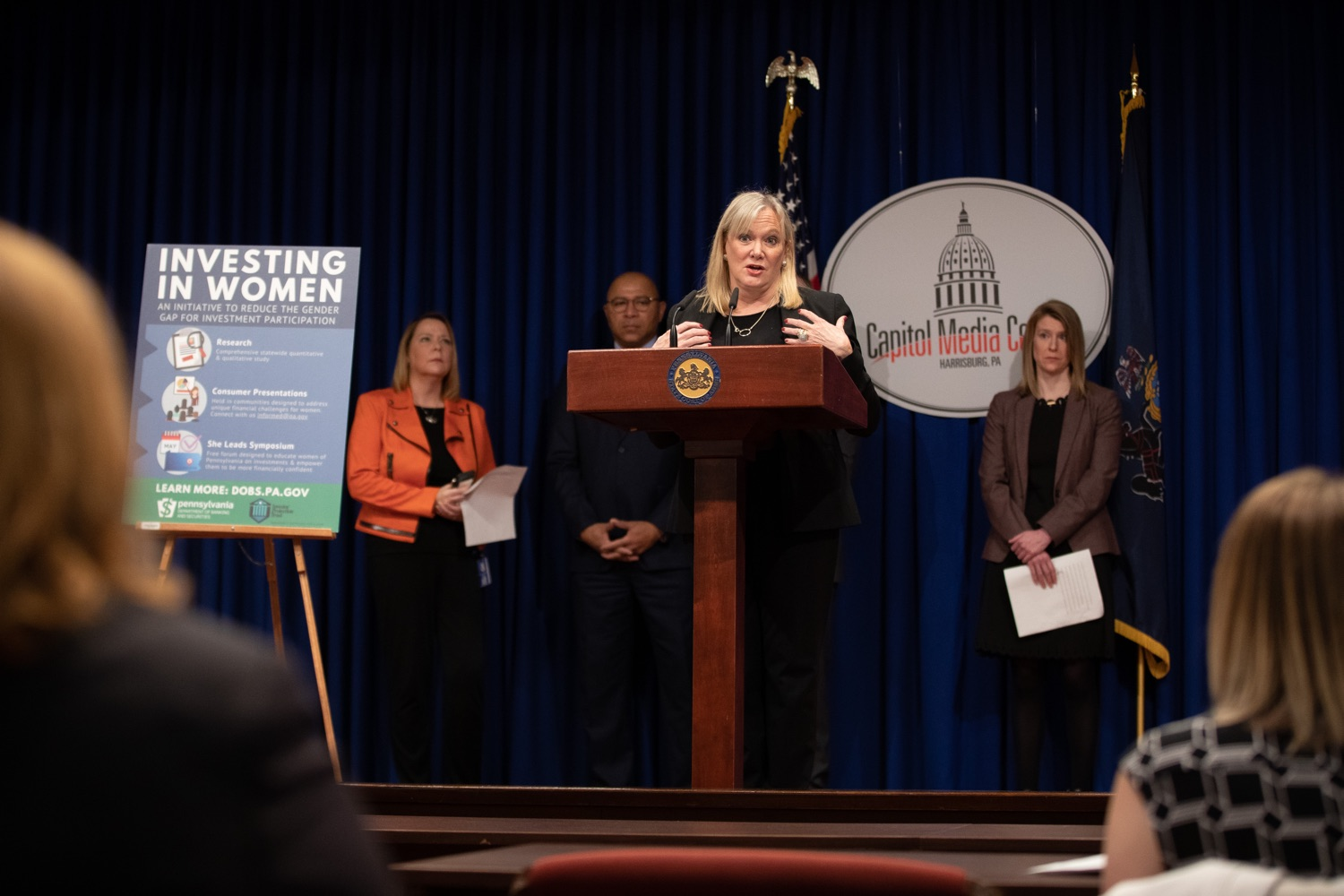 "<a href=""https://filesource.wostreaming.net/commonwealthofpa/photo/17725_dobs_investingwomen_dz_006.jpg"" target=""_blank"">⇣ Download Photo<br></a>Department of Banking and Securities Secretary Robin L. Wiessmann speaking at the announcement in the Capitol Media Center. Pennsylvania Department of Banking and Securities Secretary Robin L. Wiessmann today announced Investing in Women, an initiative aimed at providing women with important information about banking, credit, saving and investing, while offering practical resources to navigate their finances. The secretary was joined at a Capitol news conference by .Julie Bancroft, Chief Public Affairs Officer of the Pennsylvania Coalition Against Domestic Violence (PCADV).  .Harrisburg, PA - January 15, 2020."