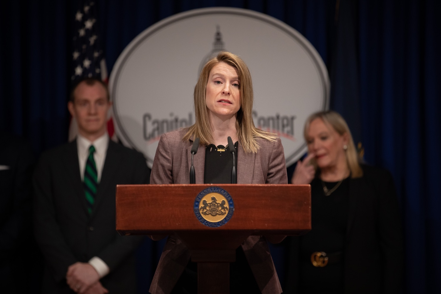 "<a href=""https://filesource.wostreaming.net/commonwealthofpa/photo/17725_dobs_investingwomen_dz_007.jpg"" target=""_blank"">⇣ Download Photo<br></a>Julie Bancroft, Chief Public Affairs Officer of the Pennsylvania Coalition Against Domestic Violence (PCADV) speaking at the announcement in the Capitol Media Center. Pennsylvania Department of Banking and Securities Secretary Robin L. Wiessmann today announced Investing in Women, an initiative aimed at providing women with important information about banking, credit, saving and investing, while offering practical resources to navigate their finances. The secretary was joined at a Capitol news conference by .Julie Bancroft, Chief Public Affairs Officer of the Pennsylvania Coalition Against Domestic Violence (PCADV).  .Harrisburg, PA - January 15, 2020."