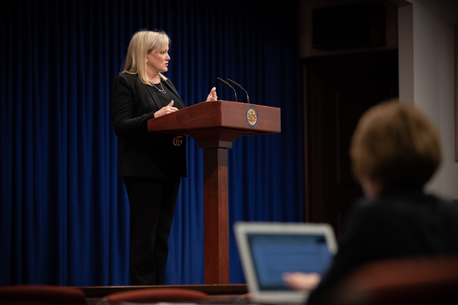 "<a href=""https://filesource.wostreaming.net/commonwealthofpa/photo/17725_dobs_investingwomen_dz_010.jpg"" target=""_blank"">⇣ Download Photo<br></a>Department of Banking and Securities Secretary Robin L. Wiessmann speaking at the announcement in the Capitol Media Center. Pennsylvania Department of Banking and Securities Secretary Robin L. Wiessmann today announced Investing in Women, an initiative aimed at providing women with important information about banking, credit, saving and investing, while offering practical resources to navigate their finances. The secretary was joined at a Capitol news conference by .Julie Bancroft, Chief Public Affairs Officer of the Pennsylvania Coalition Against Domestic Violence (PCADV).  .Harrisburg, PA - January 15, 2020."