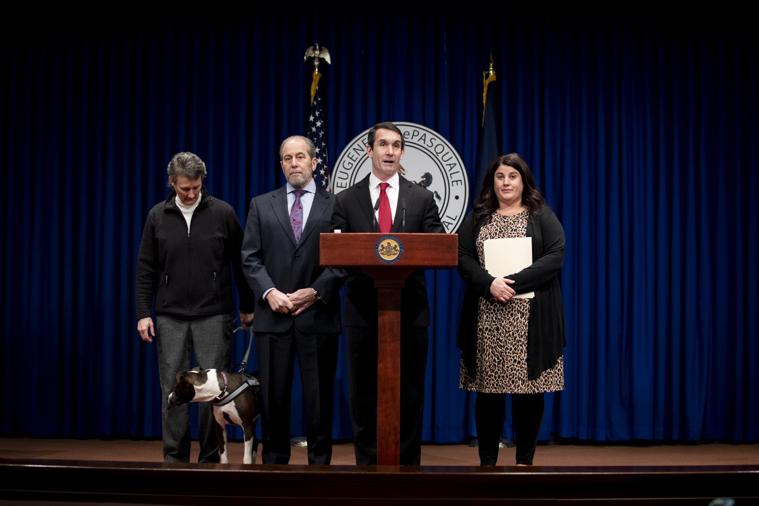 """<a href=""""https://filesource.wostreaming.net/commonwealthofpa/photo/17734_AUD_GEN_DOG_LICENSING_CZ_06.JPG"""" target=""""_blank"""">⇣Download Photo<br></a>Auditor General DePasquale advocates for sufficient funding for the Dog Law Enforcement Bureau to ensure the safety of Pennsylvania's dogs, at the Harrisburg Capitol on February 6, 2020."""