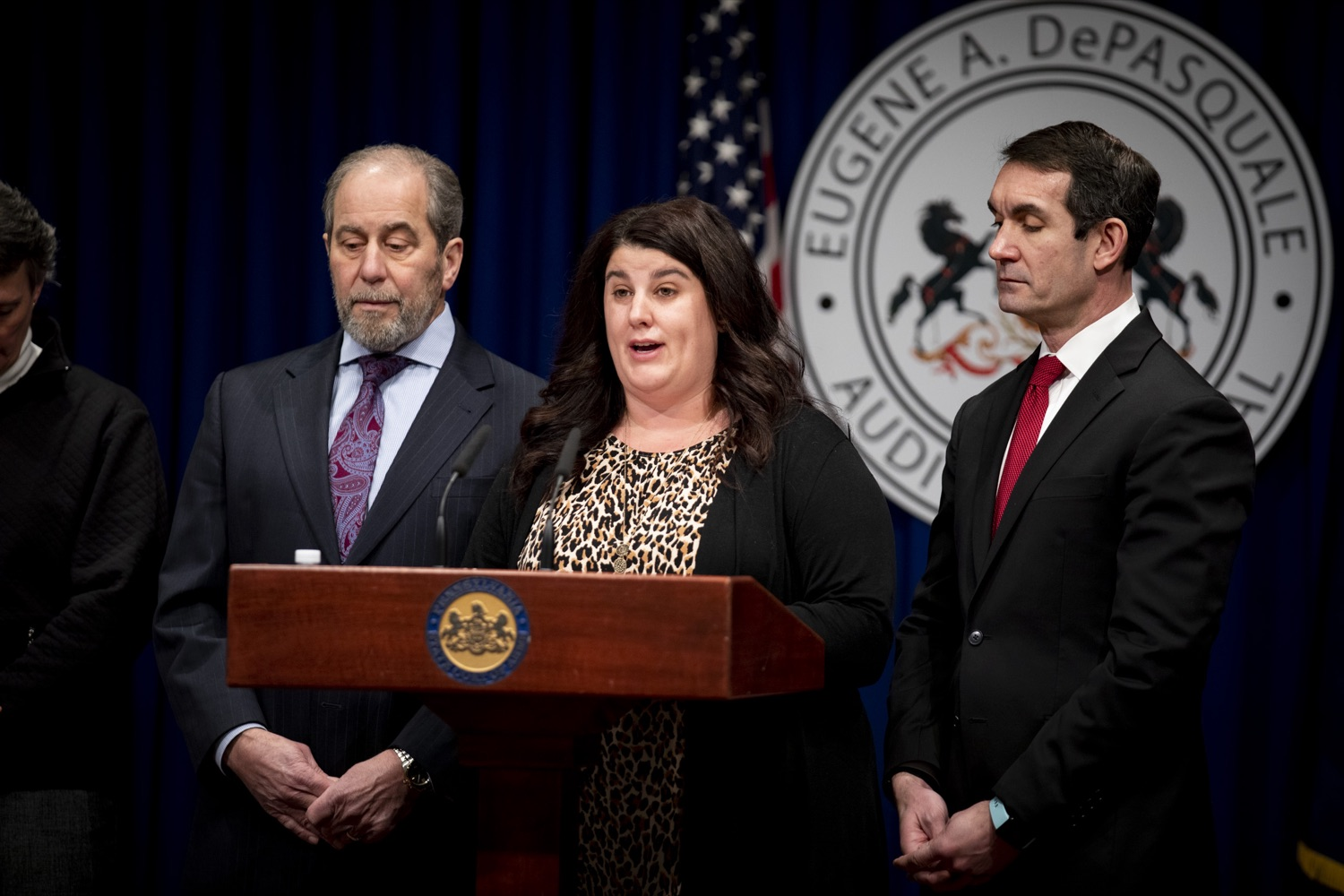 """<a href=""""https://filesource.wostreaming.net/commonwealthofpa/photo/17734_AUD_GEN_DOG_LICENSING_CZ_09.JPG"""" target=""""_blank"""">⇣Download Photo<br></a>Dog Law Enforcement Bureau Director Kristen Donmoyer discusses how budget shortfalls have impacted her department's efforts to keep dogs safe, at the Harrisburg Capitol on February 6, 2020."""