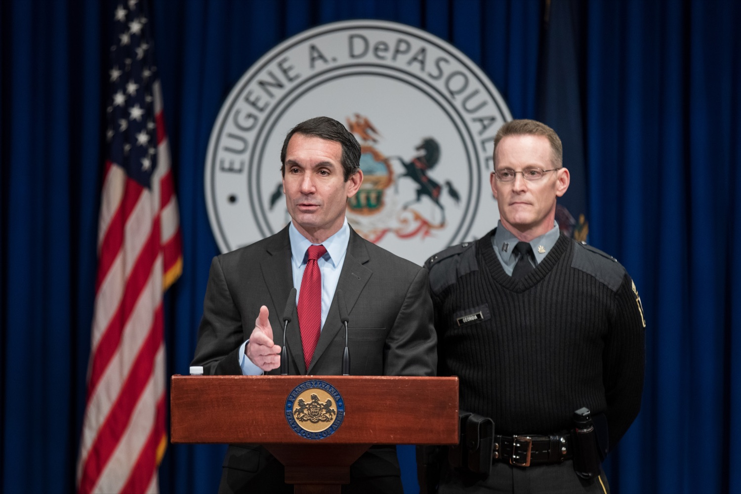 "<a href=""https://filesource.wostreaming.net/commonwealthofpa/photo/17736_AUD_GEN_State_Police_Radios_NK_001.JPG"" target=""_blank"">⇣ Download Photo<br></a>Auditor General Eugene DePasquale speaks alongside Capt. Sean Georgia, director of PA State Police Radio and Information Services Division, inside the Capitol Media Center on Thursday, January 30, 2020. The press conference was held to announce the state auditor general's audit of the purchasing process for a new radio network designed to help Pennsylvania State Police and other emergency responders communicate with each other and keep the public safe."