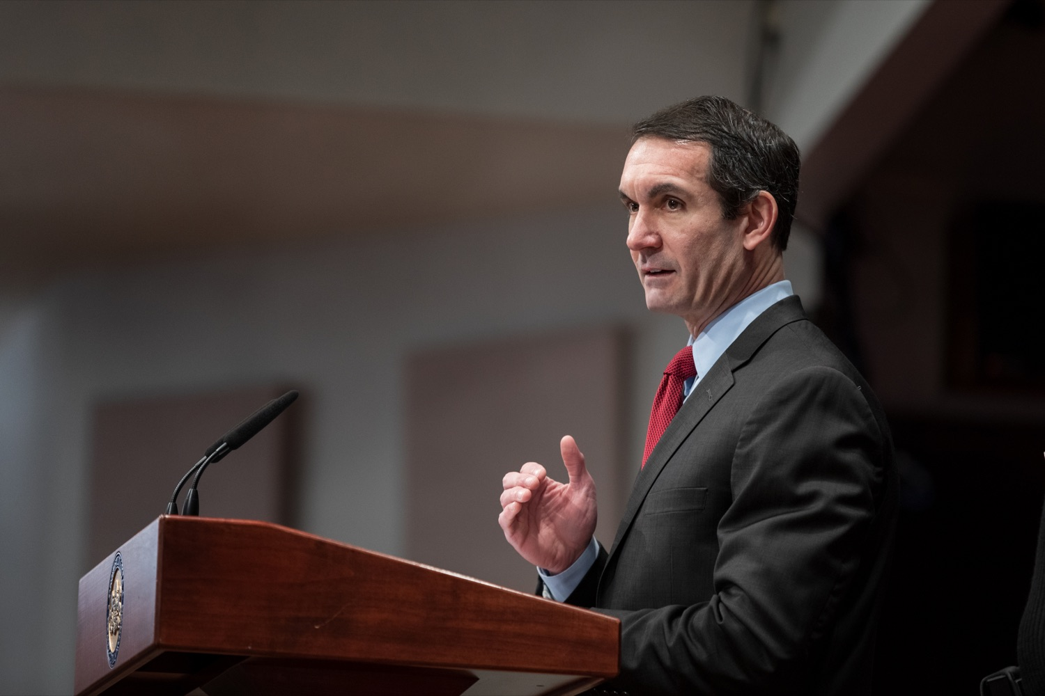 "<a href=""https://filesource.wostreaming.net/commonwealthofpa/photo/17736_AUD_GEN_State_Police_Radios_NK_002.JPG"" target=""_blank"">⇣ Download Photo<br></a>Auditor General Eugene DePasquale speaks during a press conference, announcing his audit of the purchasing process for a new radio network designed to help Pennsylvania State Police and other emergency responders communicate, inside the inside the Capitol Media Center on Thursday, January 30, 2020."