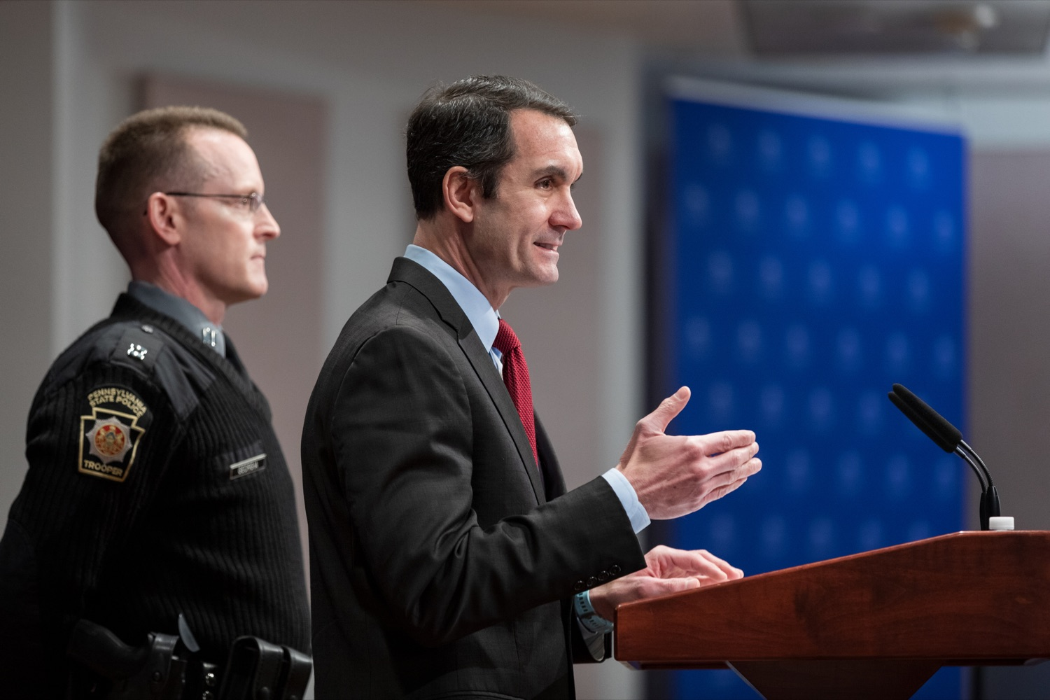 "<a href=""https://filesource.wostreaming.net/commonwealthofpa/photo/17736_AUD_GEN_State_Police_Radios_NK_005.JPG"" target=""_blank"">⇣ Download Photo<br></a>Auditor General Eugene DePasquale speaks alongside Capt. Sean Georgia, director of PA State Police Radio and Information Services Division, inside the Capitol Media Center on Thursday, January 30, 2020. The press conference was held to announce the state auditor general's audit of the purchasing process for a new radio network designed to help Pennsylvania State Police and other emergency responders communicate with each other and keep the public safe."