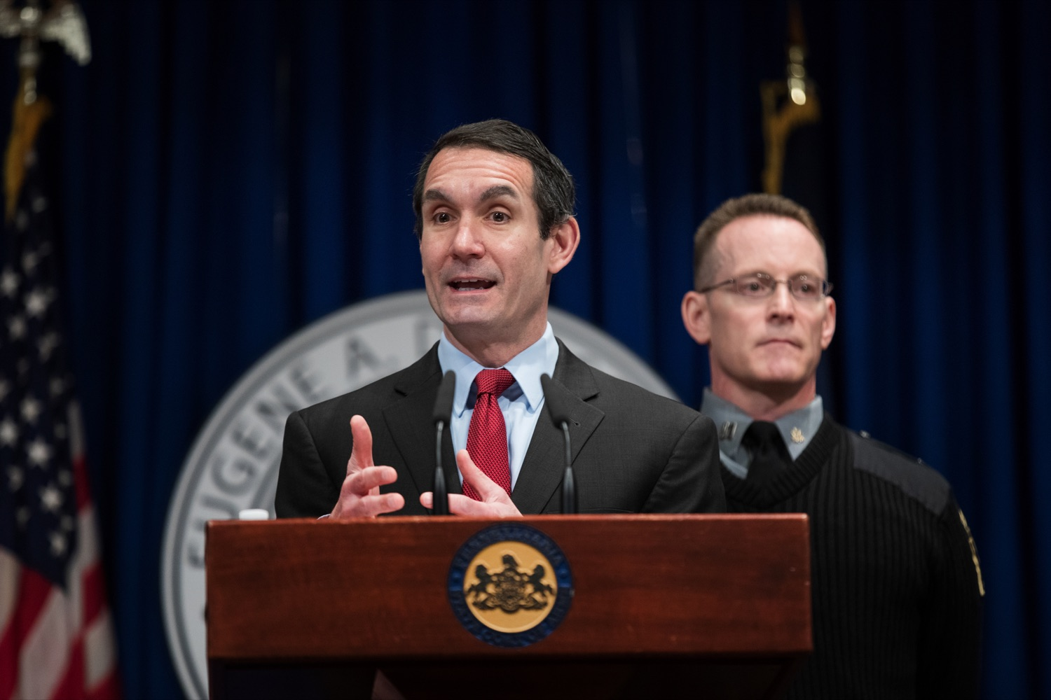 "<a href=""https://filesource.wostreaming.net/commonwealthofpa/photo/17736_AUD_GEN_State_Police_Radios_NK_008.JPG"" target=""_blank"">⇣ Download Photo<br></a>Auditor General Eugene DePasquale speaks alongside Capt. Sean Georgia, director of PA State Police Radio and Information Services Division, inside the Capitol Media Center on Thursday, January 30, 2020. The press conference was held to announce the state auditor general's audit of the purchasing process for a new radio network designed to help Pennsylvania State Police and other emergency responders communicate with each other and keep the public safe."