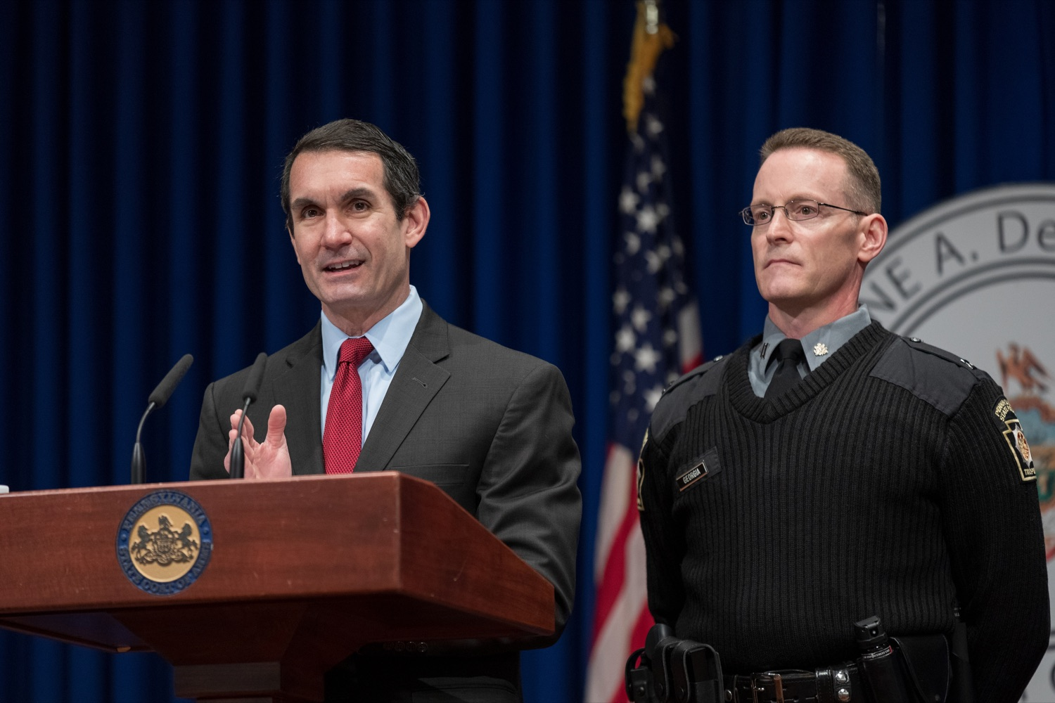 "<a href=""https://filesource.wostreaming.net/commonwealthofpa/photo/17736_AUD_GEN_State_Police_Radios_NK_010.JPG"" target=""_blank"">⇣ Download Photo<br></a>Auditor General Eugene DePasquale speaks alongside Capt. Sean Georgia, director of PA State Police Radio and Information Services Division, inside the Capitol Media Center on Thursday, January 30, 2020. The press conference was held to announce the state auditor general's audit of the purchasing process for a new radio network designed to help Pennsylvania State Police and other emergency responders communicate with each other and keep the public safe."