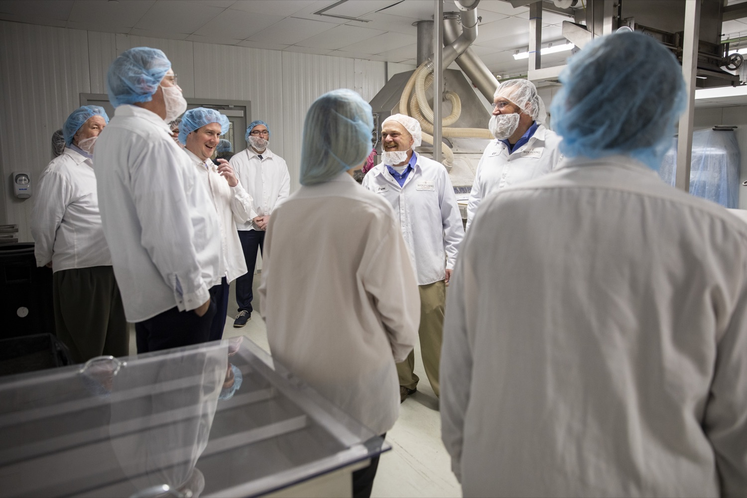 """<a href=""""https://filesource.wostreaming.net/commonwealthofpa/photo/17740_DCED_WOLFGANG_TOUR_CZ_03.JPG"""" target=""""_blank"""">⇣Download Photo<br></a>Steve Herbert, Plant Manager for Wolfgang Confectioners, gives a tour of the facility, which manufactures assorted chocolates and confections, in York County on February 13, 2020."""