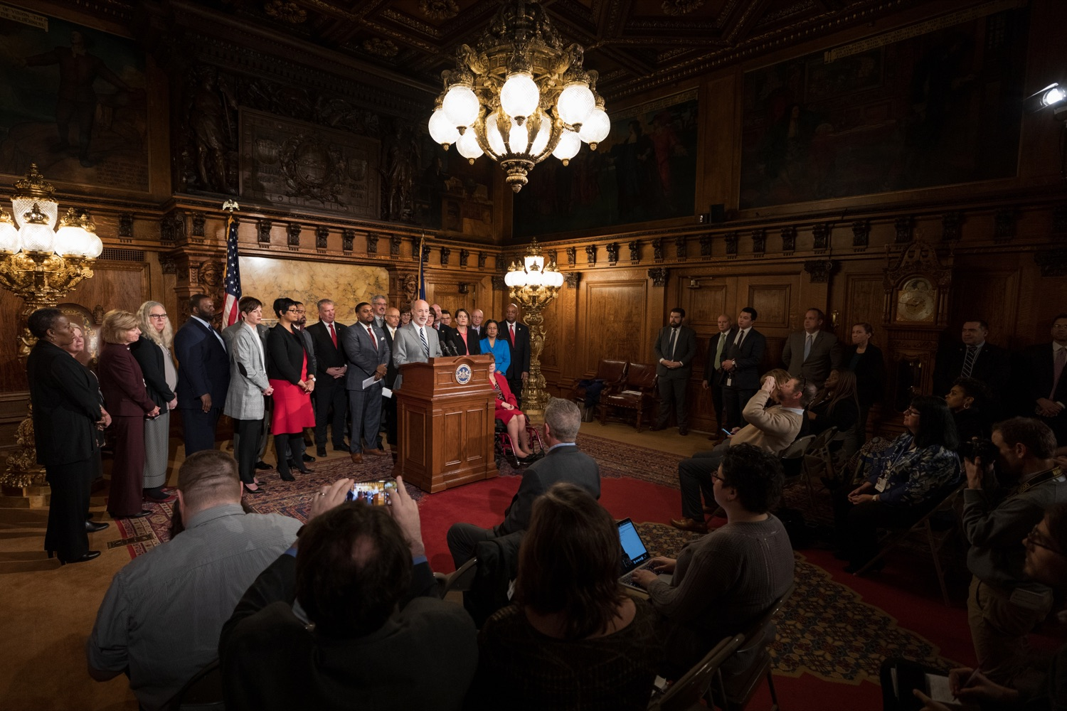 "<a href=""https://filesource.wostreaming.net/commonwealthofpa/photo/17753_GOV_Lead_Contaminants_NK_001.JPG"" target=""_blank"">⇣ Download Photo<br></a>Governor Tom Wolf speaks during a press conference, during which Governor Wolf proposed 2020-21 budget items totaling more than $1.1 billion to support reducing the risks to Pennsylvanians of lead and asbestos, inside the Governor's Reception Room at the State Capitol building in Harrisburg on Wednesday, January 29, 2020."