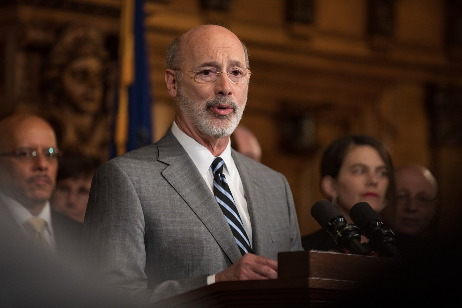 "<a href=""https://filesource.wostreaming.net/commonwealthofpa/photo/17753_GOV_Lead_Contaminants_NK_002.JPG"" target=""_blank"">⇣ Download Photo<br></a>Governor Tom Wolf speaks during a press conference, during which Governor Wolf proposed 2020-21 budget items totaling more than $1.1 billion to support reducing the risks to Pennsylvanians of lead and asbestos, inside the Governor's Reception Room at the State Capitol building in Harrisburg on Wednesday, January 29, 2020."