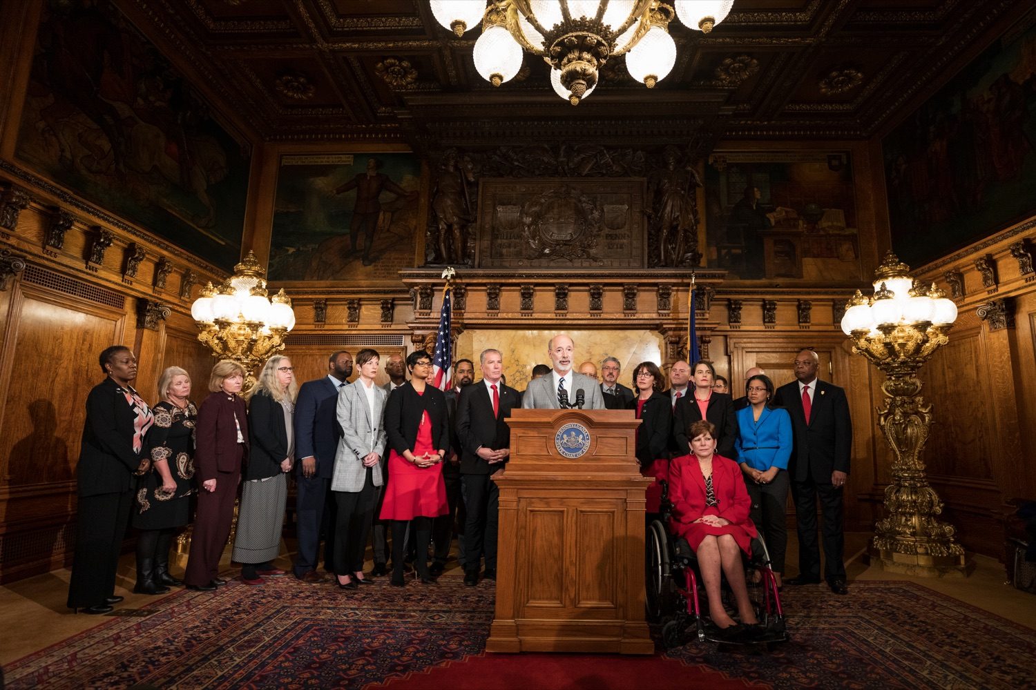 "<a href=""https://filesource.wostreaming.net/commonwealthofpa/photo/17753_GOV_Lead_Contaminants_NK_004.JPG"" target=""_blank"">⇣ Download Photo<br></a>Governor Tom Wolf speaks during a press conference, during which Governor Wolf proposed 2020-21 budget items totaling more than $1.1 billion to support reducing the risks to Pennsylvanians of lead and asbestos, inside the Governor's Reception Room at the State Capitol building in Harrisburg on Wednesday, January 29, 2020."