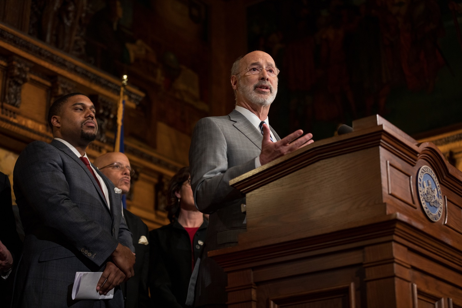 "<a href=""https://filesource.wostreaming.net/commonwealthofpa/photo/17753_GOV_Lead_Contaminants_NK_005.JPG"" target=""_blank"">⇣ Download Photo<br></a>Governor Tom Wolf speaks during a press conference, during which Governor Wolf proposed 2020-21 budget items totaling more than $1.1 billion to support reducing the risks to Pennsylvanians of lead and asbestos, inside the Governor's Reception Room at the State Capitol building in Harrisburg on Wednesday, January 29, 2020."
