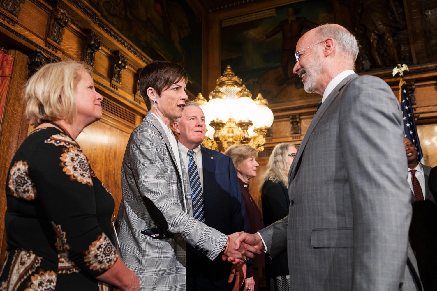 "<a href=""https://filesource.wostreaming.net/commonwealthofpa/photo/17753_GOV_Lead_Contaminants_NK_006.JPG"" target=""_blank"">⇣ Download Photo<br></a>Pennsylvania Governor Tom Wolf shakes hands with Melissa McTiernan, superintendent of the Scranton School District, inside the Governor's Reception Room at the State Capitol building in Harrisburg on Wednesday, January 29, 2020."