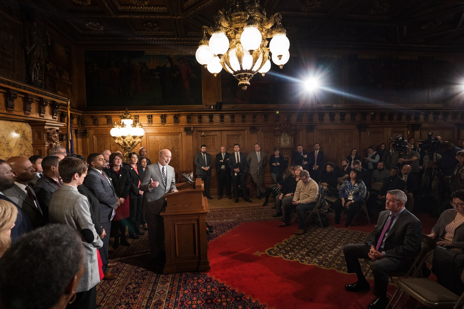 "<a href=""https://filesource.wostreaming.net/commonwealthofpa/photo/17753_GOV_Lead_Contaminants_NK_008.JPG"" target=""_blank"">⇣ Download Photo<br></a>Governor Tom Wolf speaks during a press conference, during which Governor Wolf proposed 2020-21 budget items totaling more than $1.1 billion to support reducing the risks to Pennsylvanians of lead and asbestos, inside the Governor's Reception Room at the State Capitol building in Harrisburg on Wednesday, January 29, 2020."