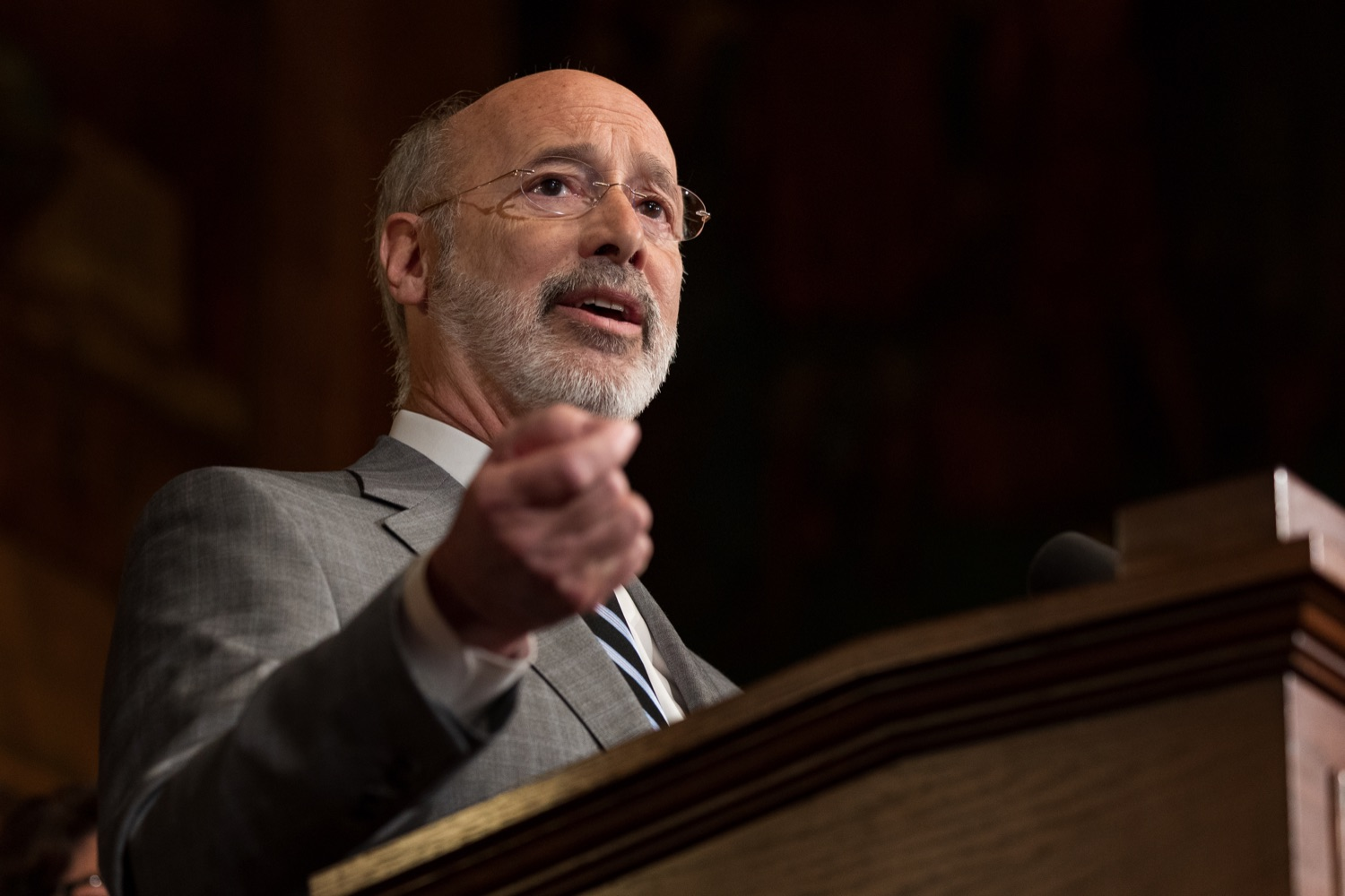 "<a href=""https://filesource.wostreaming.net/commonwealthofpa/photo/17753_GOV_Lead_Contaminants_NK_009.JPG"" target=""_blank"">⇣ Download Photo<br></a>Governor Tom Wolf speaks during a press conference, during which Governor Wolf proposed 2020-21 budget items totaling more than $1.1 billion to support reducing the risks to Pennsylvanians of lead and asbestos, inside the Governor's Reception Room at the State Capitol building in Harrisburg on Wednesday, January 29, 2020."