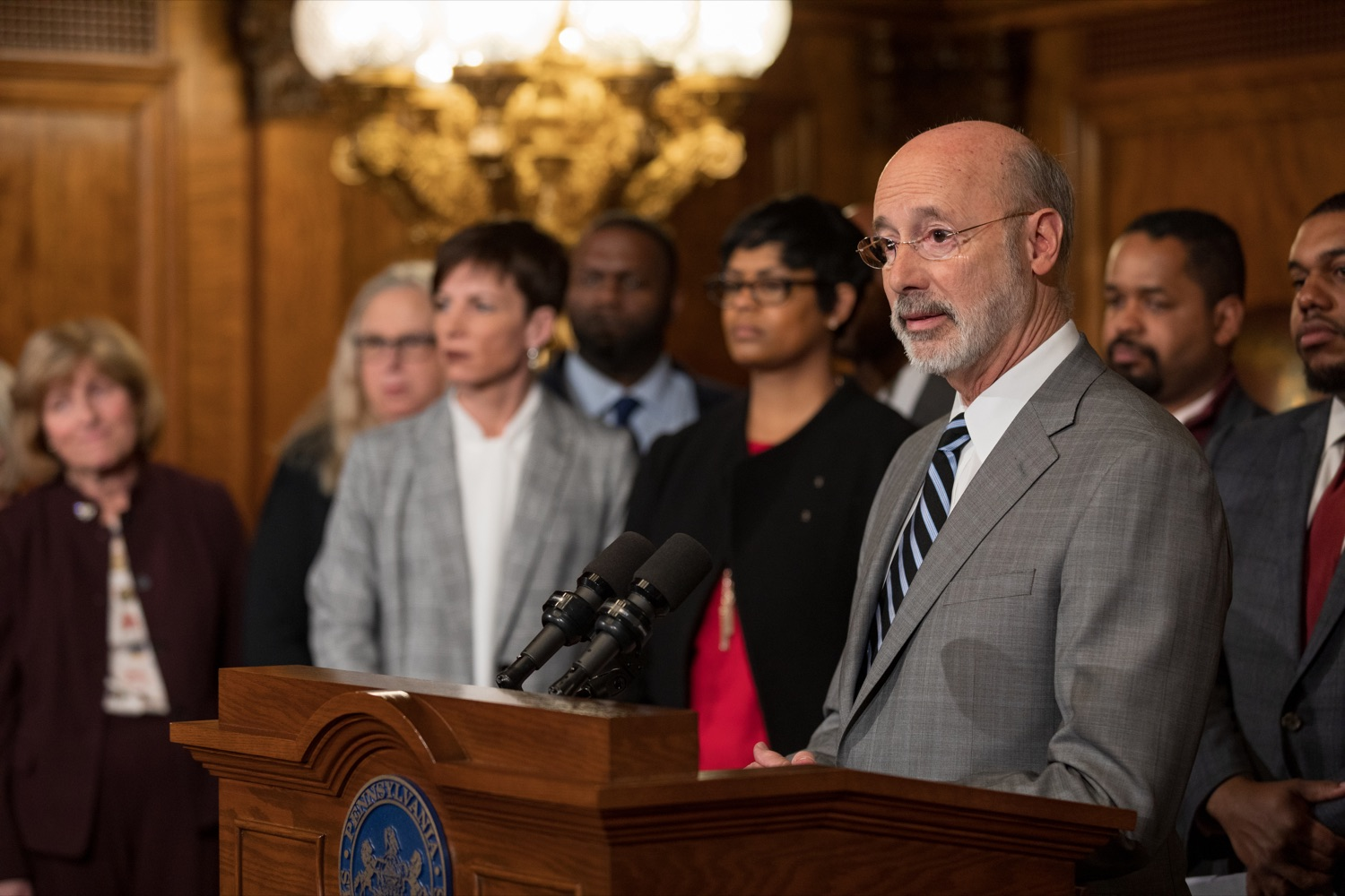 "<a href=""https://filesource.wostreaming.net/commonwealthofpa/photo/17753_GOV_Lead_Contaminants_NK_010.JPG"" target=""_blank"">⇣ Download Photo<br></a>Governor Tom Wolf speaks during a press conference, during which Governor Wolf proposed 2020-21 budget items totaling more than $1.1 billion to support reducing the risks to Pennsylvanians of lead and asbestos, inside the Governor's Reception Room at the State Capitol building in Harrisburg on Wednesday, January 29, 2020."
