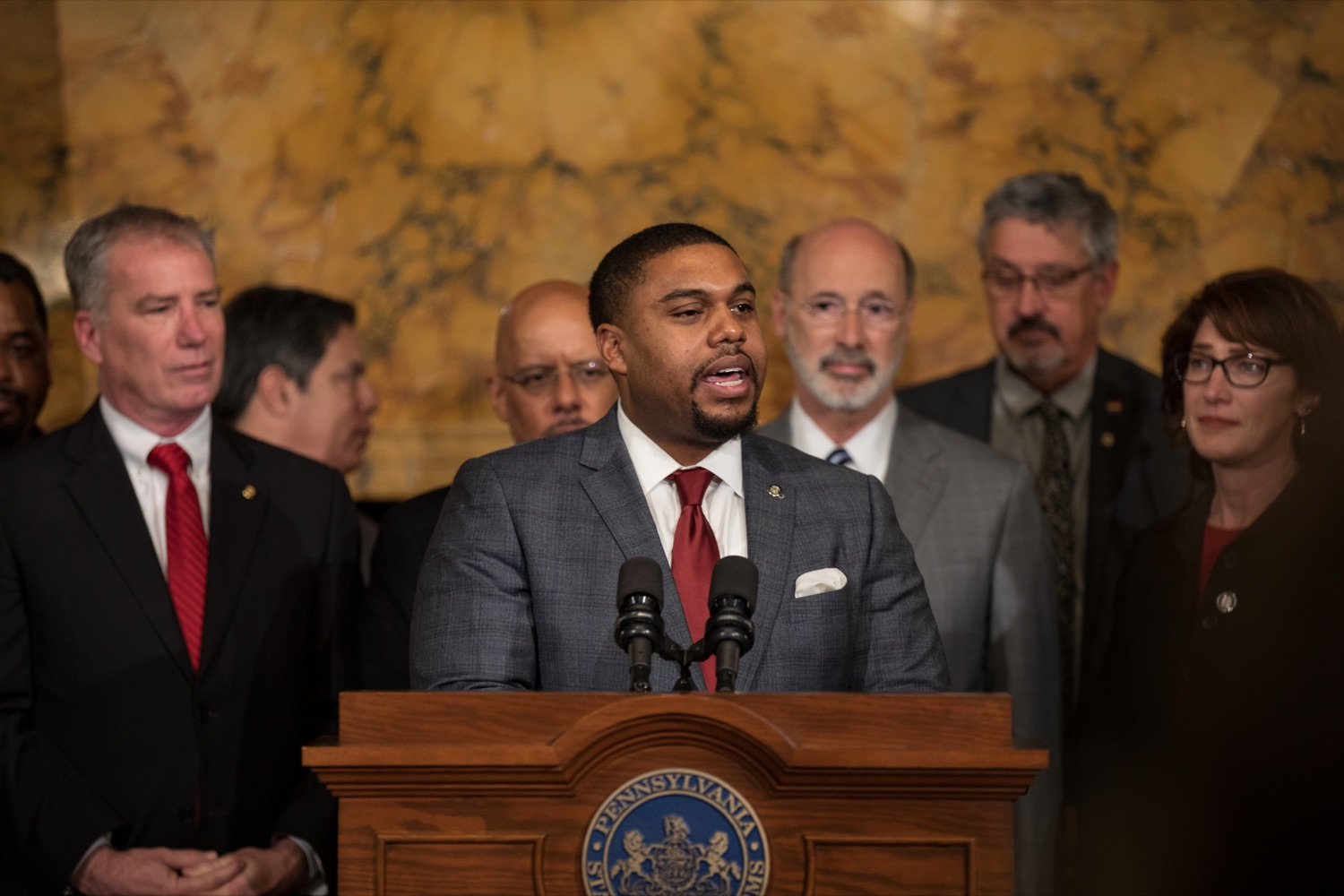 "<a href=""https://filesource.wostreaming.net/commonwealthofpa/photo/17753_GOV_Lead_Contaminants_NK_012.JPG"" target=""_blank"">⇣ Download Photo<br></a>Rep. Jason Dawkins speaks during a press conference, during which Governor Wolf proposed 2020-21 budget items totaling more than $1.1 billion to support reducing the risks to Pennsylvanians of lead and asbestos, inside the Governor's Reception Room at the State Capitol building in Harrisburg on Wednesday, January 29, 2020."