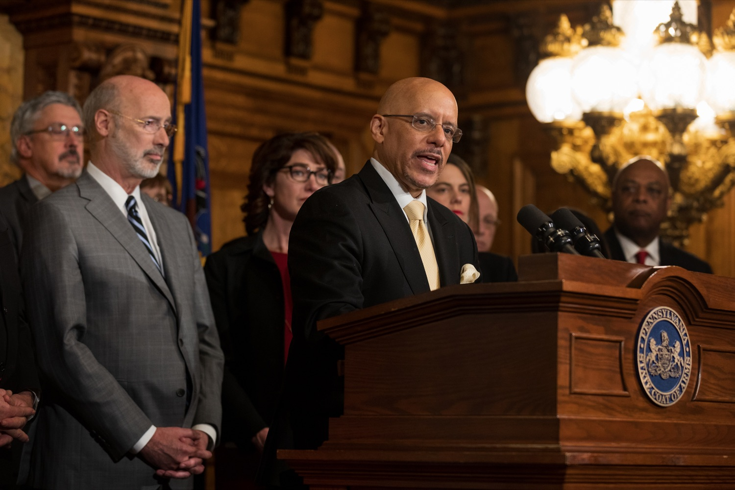 "<a href=""https://filesource.wostreaming.net/commonwealthofpa/photo/17753_GOV_Lead_Contaminants_NK_013.JPG"" target=""_blank"">⇣ Download Photo<br></a>Sen. Vincent Hughes speaks during a press conference, during which Governor Wolf proposed 2020-21 budget items totaling more than $1.1 billion to support reducing the risks to Pennsylvanians of lead and asbestos, inside the Governor's Reception Room at the State Capitol building in Harrisburg on Wednesday, January 29, 2020."
