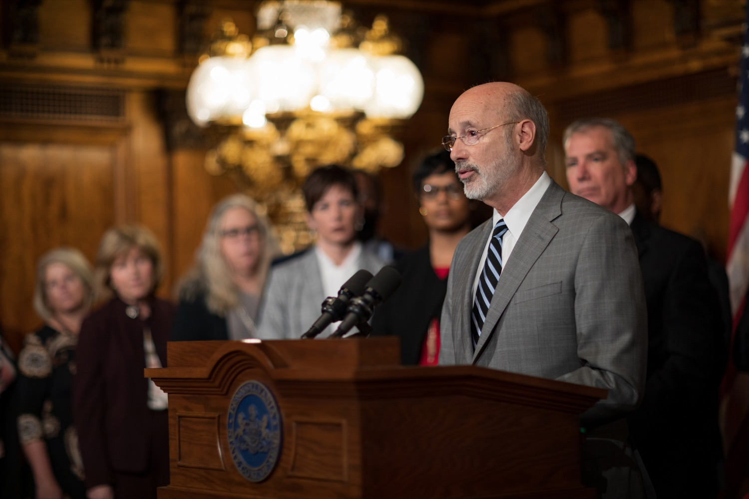"<a href=""https://filesource.wostreaming.net/commonwealthofpa/photo/17753_GOV_Lead_Contaminants_NK_014.JPG"" target=""_blank"">⇣ Download Photo<br></a>Governor Tom Wolf speaks during a press conference, during which Governor Wolf proposed 2020-21 budget items totaling more than $1.1 billion to support reducing the risks to Pennsylvanians of lead and asbestos, inside the Governor's Reception Room at the State Capitol building in Harrisburg on Wednesday, January 29, 2020."