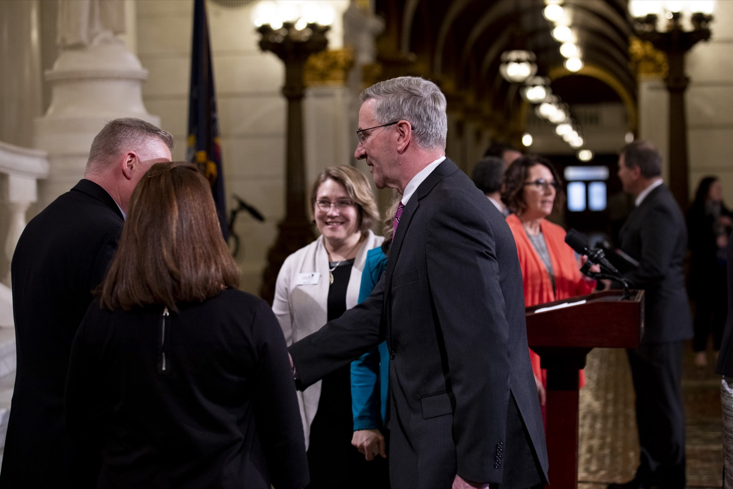 """<a href=""""https://filesource.wostreaming.net/commonwealthofpa/photo/17757_dhs_snap_cz_15.JPG"""" target=""""_blank"""">⇣Download Photo<br></a>Secretary of Agriculture Russell Redding greets anti-hunger advocates, at the Harrisburg Capitol on February 19, 2020."""