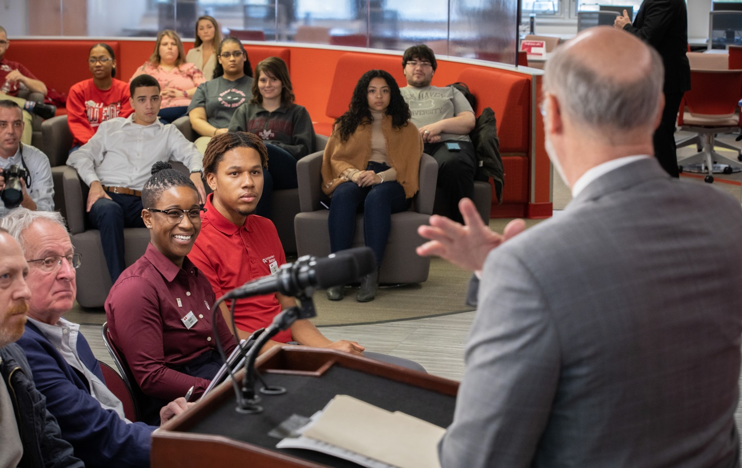 """<a href=""""https://filesource.wostreaming.net/commonwealthofpa/photo/17763_gov_highered_dz_007.jpg"""" target=""""_blank"""">⇣Download Photo<br></a>Governor Tom Wolf speaks to Lock Haven University students Mikaylah Johnson and Derrick Cheeks at Lock Haven University.  Governor Tom Wolf visited Lock Haven University today to launch a tour of the 14 state-owned universities and discuss his proposal to help thousands of low- and middle-class students afford their dream of a college education. Lock Haven, PA  February 12, 2020"""