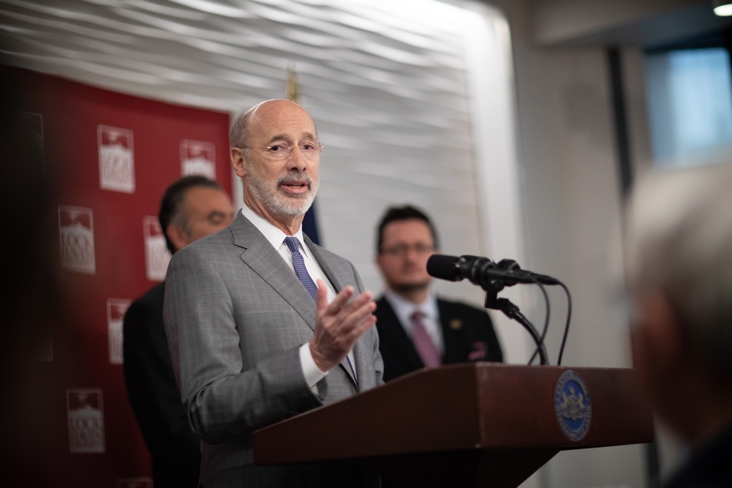 """<a href=""""https://filesource.wostreaming.net/commonwealthofpa/photo/17763_gov_highered_dz_008.jpg"""" target=""""_blank"""">⇣Download Photo<br></a>Governor Tom Wolf speaks to students at Lock Haven University.  Governor Tom Wolf visited Lock Haven University today to launch a tour of the 14 state-owned universities and discuss his proposal to help thousands of low- and middle-class students afford their dream of a college education. Lock Haven, PA  February 12, 2020"""