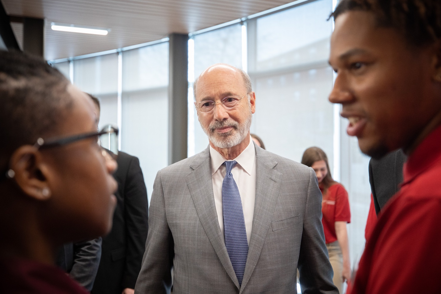 """<a href=""""https://filesource.wostreaming.net/commonwealthofpa/photo/17763_gov_highered_dz_009.jpg"""" target=""""_blank"""">⇣Download Photo<br></a>Governor Tom Wolf speaks to students at Lock Haven University.  Governor Tom Wolf visited Lock Haven University today to launch a tour of the 14 state-owned universities and discuss his proposal to help thousands of low- and middle-class students afford their dream of a college education. Lock Haven, PA  February 12, 2020"""