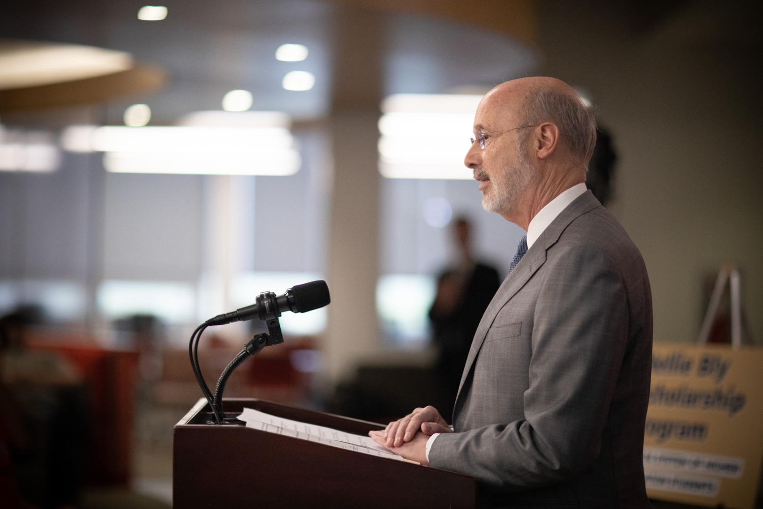 """<a href=""""https://filesource.wostreaming.net/commonwealthofpa/photo/17763_gov_highered_dz_011.jpg"""" target=""""_blank"""">⇣Download Photo<br></a>Governor Tom Wolf speaks at Lock Haven University.  Governor Tom Wolf visited Lock Haven University today to launch a tour of the 14 state-owned universities and discuss his proposal to help thousands of low- and middle-class students afford their dream of a college education. Lock Haven, PA  February 12, 2020"""