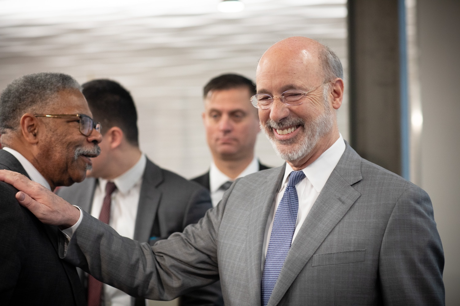 """<a href=""""https://filesource.wostreaming.net/commonwealthofpa/photo/17763_gov_highered_dz_012.jpg"""" target=""""_blank"""">⇣Download Photo<br></a>Governor Tom Wolf visits with attendees after the event.  Governor Tom Wolf visited Lock Haven University today to launch a tour of the 14 state-owned universities and discuss his proposal to help thousands of low- and middle-class students afford their dream of a college education. Lock Haven, PA  February 12, 2020"""