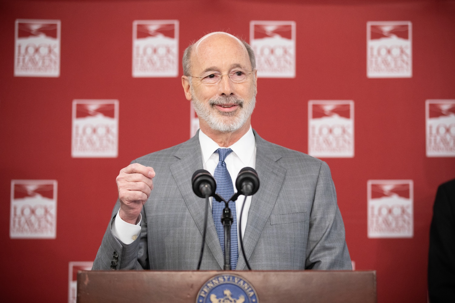 """<a href=""""https://filesource.wostreaming.net/commonwealthofpa/photo/17763_gov_highered_dz_013.jpg"""" target=""""_blank"""">⇣Download Photo<br></a>Governor Tom Wolf speaks to students at Lock Haven University.  Governor Tom Wolf visited Lock Haven University today to launch a tour of the 14 state-owned universities and discuss his proposal to help thousands of low- and middle-class students afford their dream of a college education. Lock Haven, PA  February 12, 2020"""