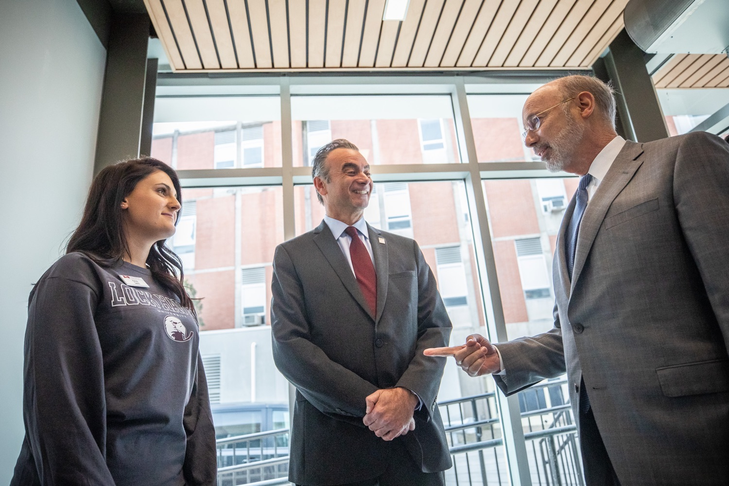 """<a href=""""https://filesource.wostreaming.net/commonwealthofpa/photo/17763_gov_highered_dz_014.jpg"""" target=""""_blank"""">⇣Download Photo<br></a>Governor Tom Wolf speaks to Lock Haven University President Robert M. Pignatello and Lock Haven University student Kalista Swartz.  Governor Tom Wolf visited Lock Haven University today to launch a tour of the 14 state-owned universities and discuss his proposal to help thousands of low- and middle-class students afford their dream of a college education. Lock Haven, PA  February 12, 2020"""
