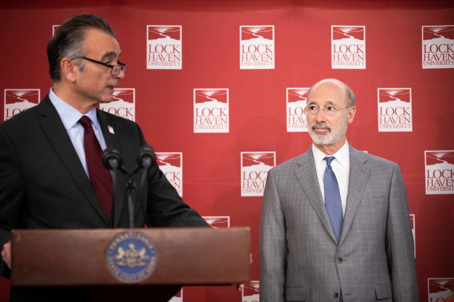 """<a href=""""https://filesource.wostreaming.net/commonwealthofpa/photo/17763_gov_highered_dz_015.jpg"""" target=""""_blank"""">⇣Download Photo<br></a>Governor Tom Wolf listening to Lock Haven University President Robert M. Pignatello.  Governor Tom Wolf visited Lock Haven University today to launch a tour of the 14 state-owned universities and discuss his proposal to help thousands of low- and middle-class students afford their dream of a college education. Lock Haven, PA  February 12, 2020"""